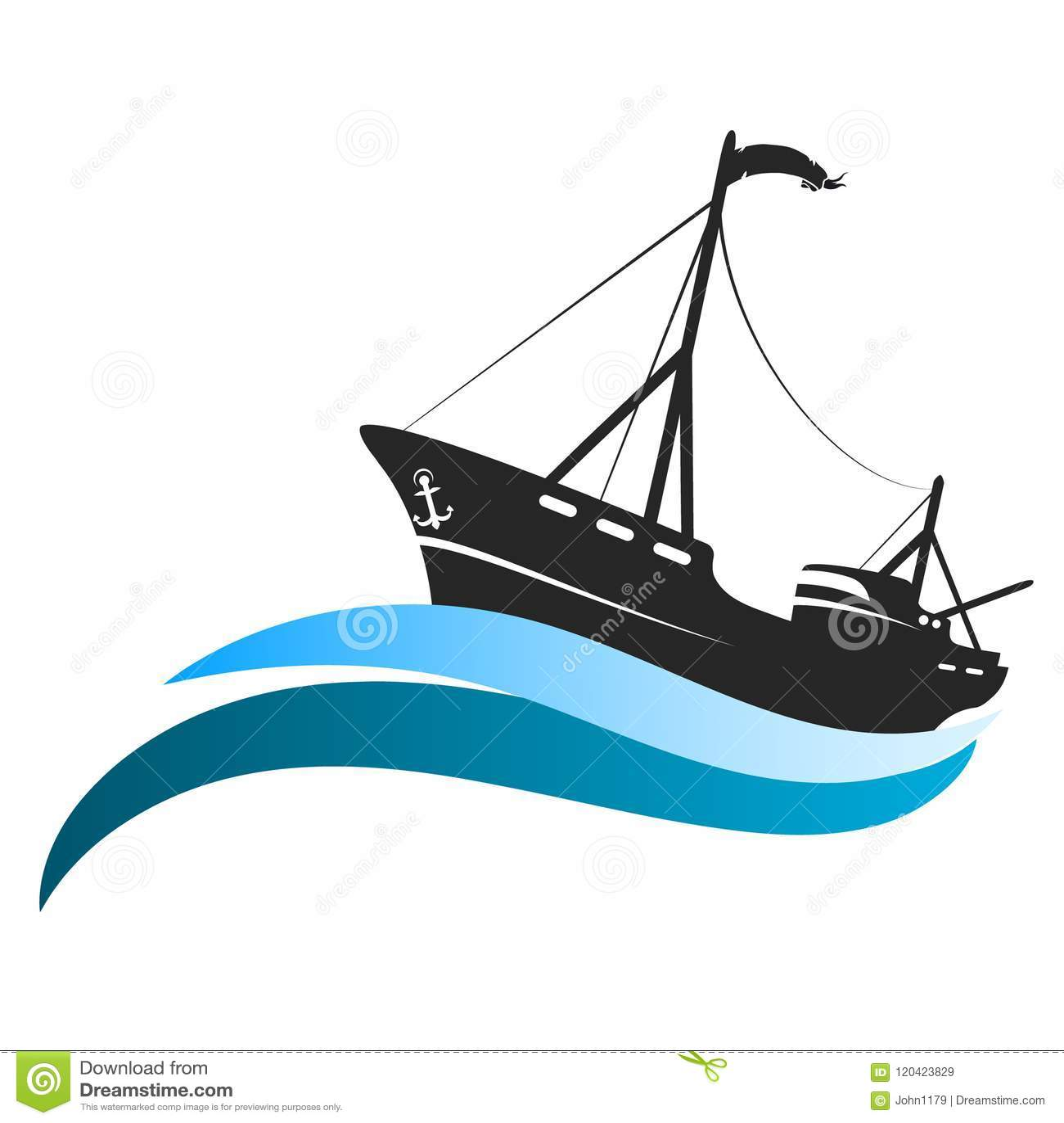 Embarcação de pesca em ondas azuis