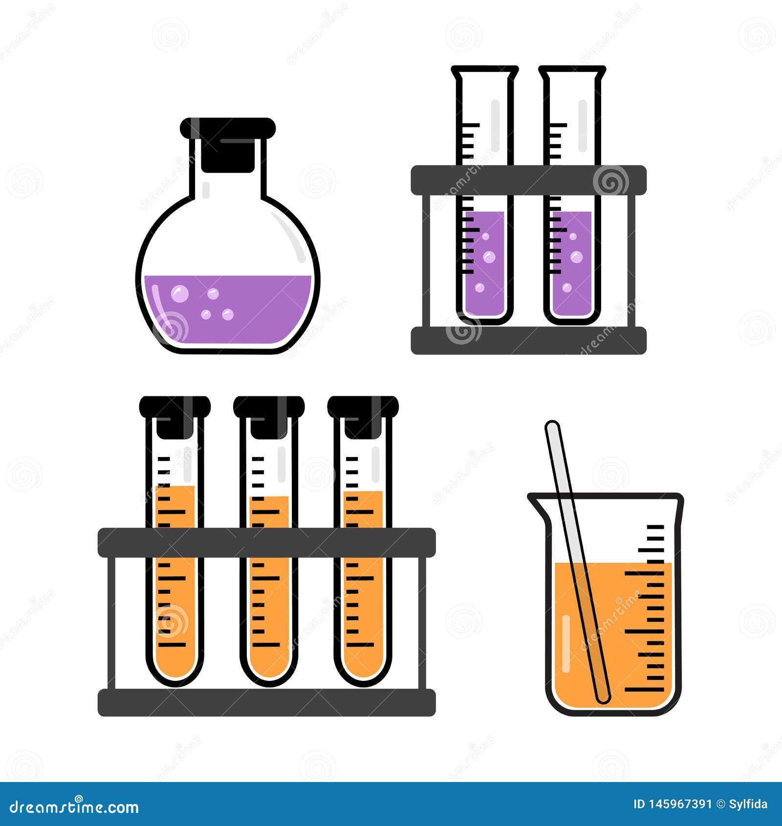 Embarcações e garrafas químicas com um líquido roxo e alaranjado Vetor