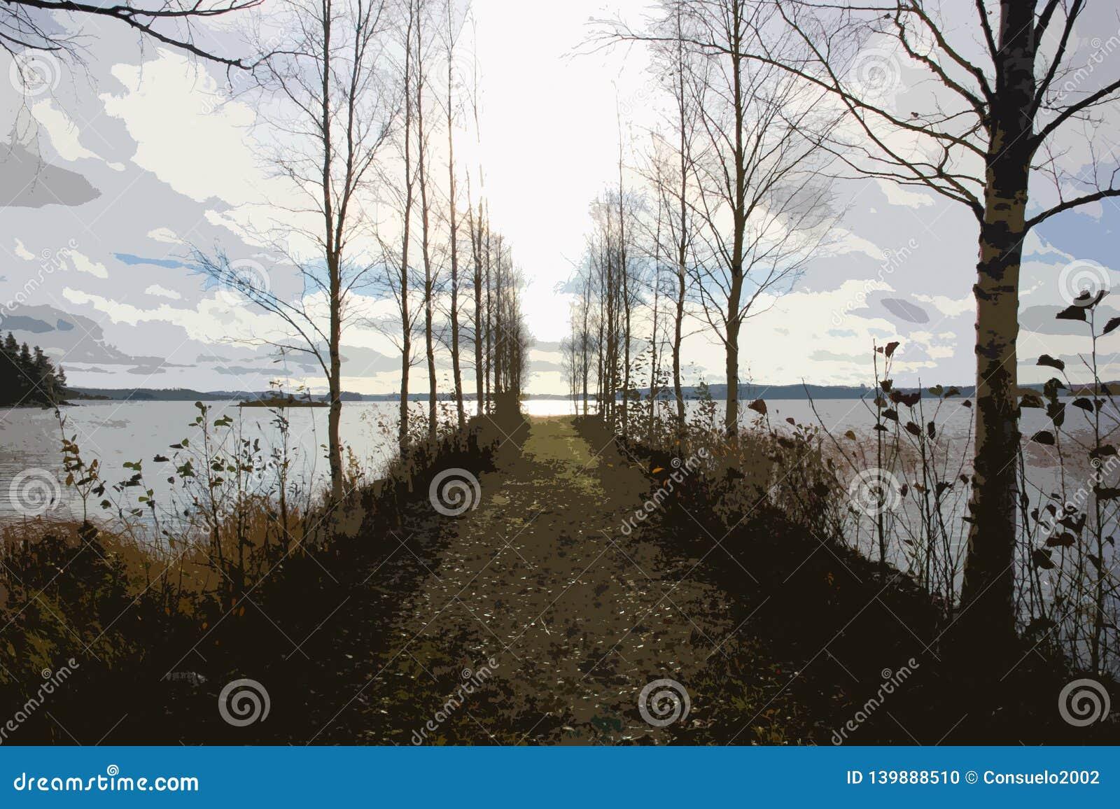 Embarcadero abandonado en el lago