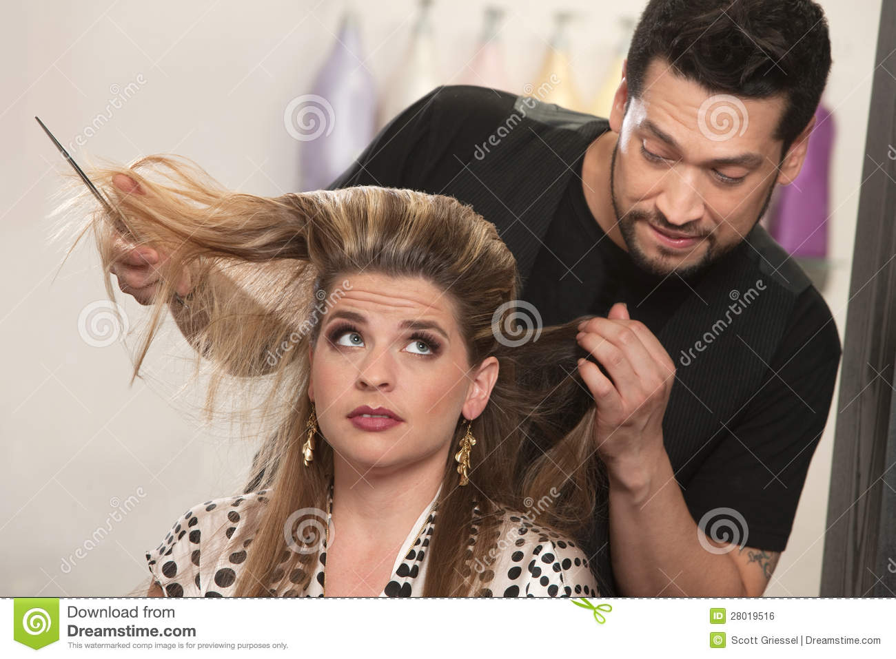 salon hair styling embarrassed hairdresser and client royalty free stock 8532