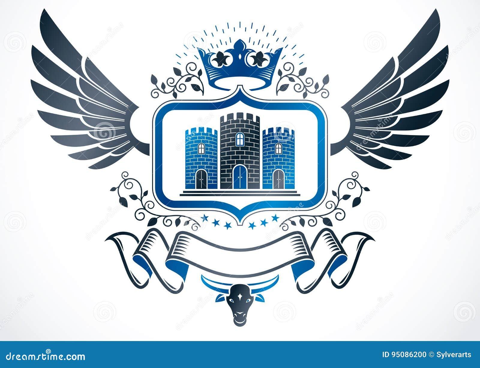 Emblème à ailes par vintage créé dans la conception héraldique de vecteur et les élém.