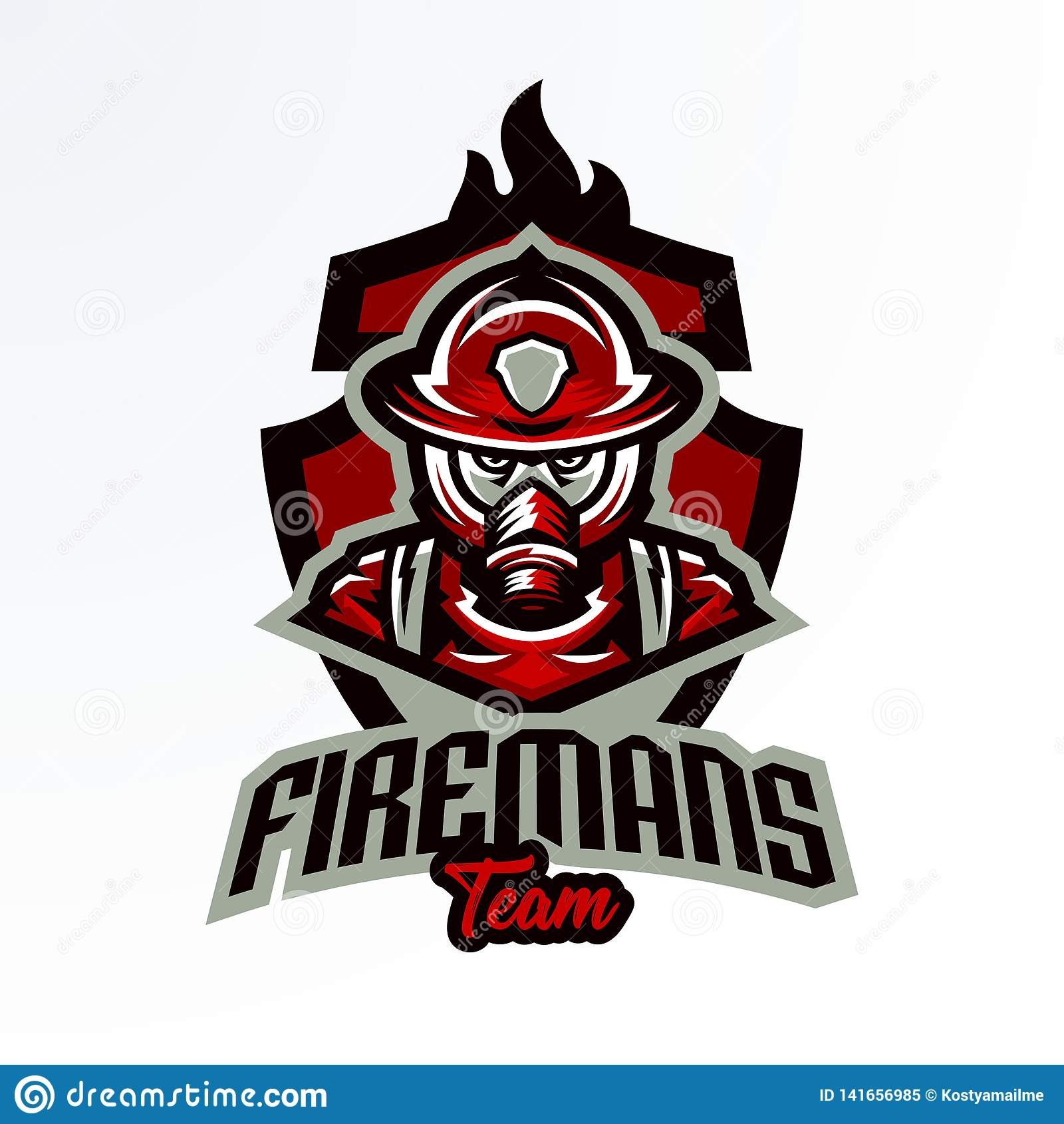 Emblème coloré, autocollant, insigne, logotype d un sapeur-pompier dans un masque de gaz Unité de délivrance, équipement de prote