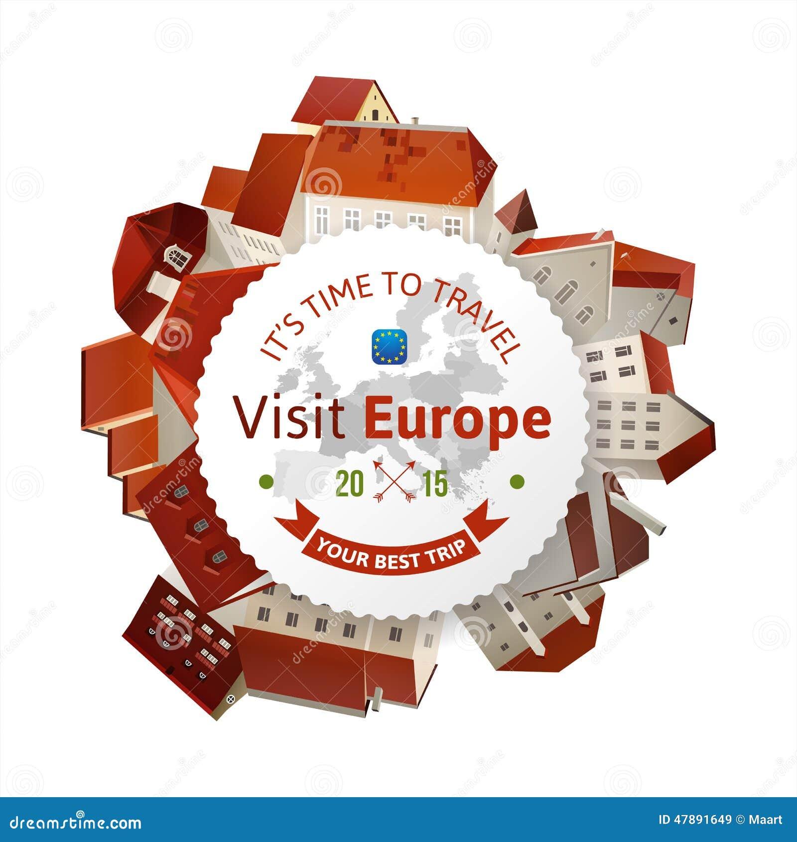 Emblme De L Europe Visite Avec Le Paysage Ville