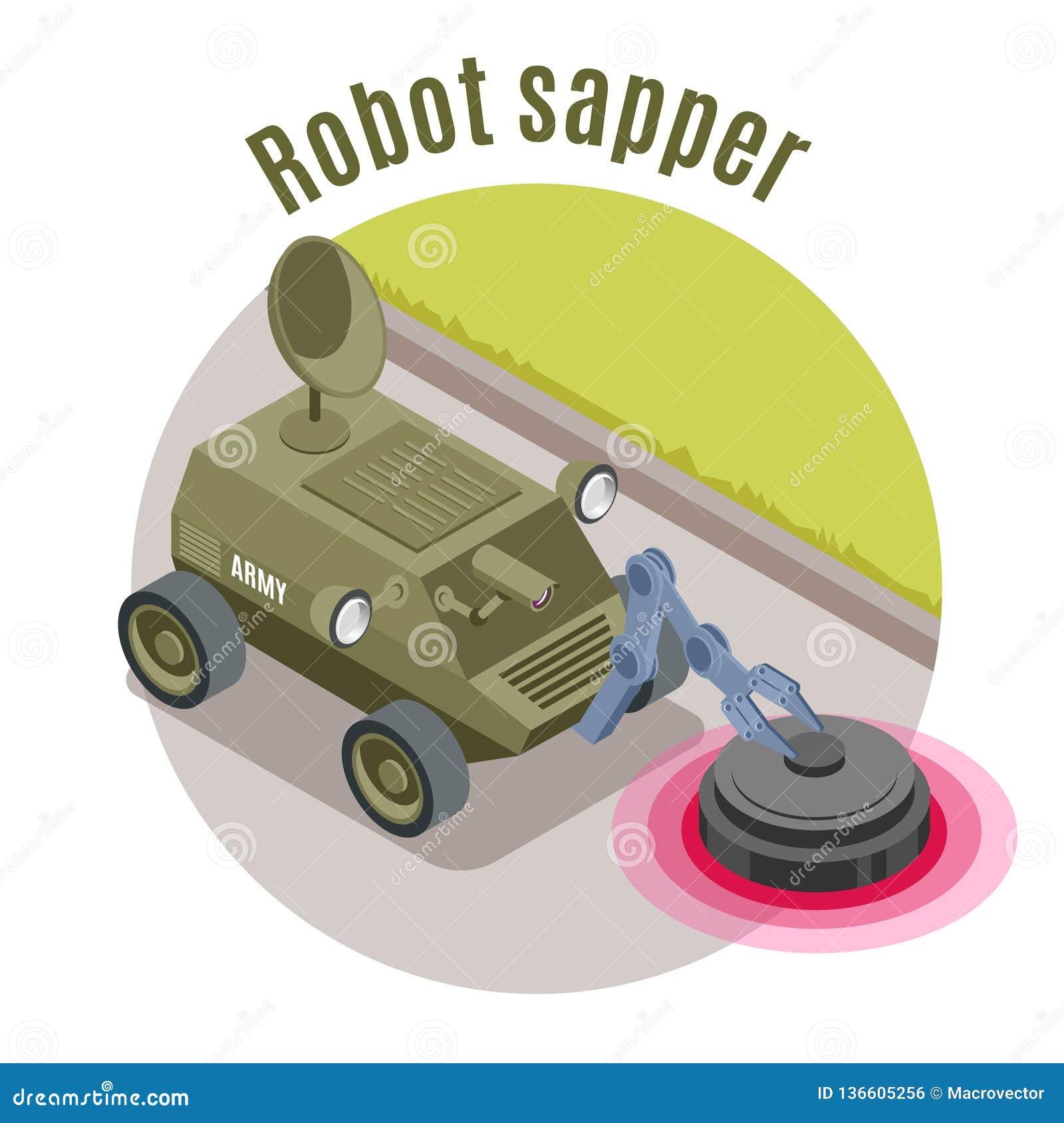 Emblème isométrique de robots militaires