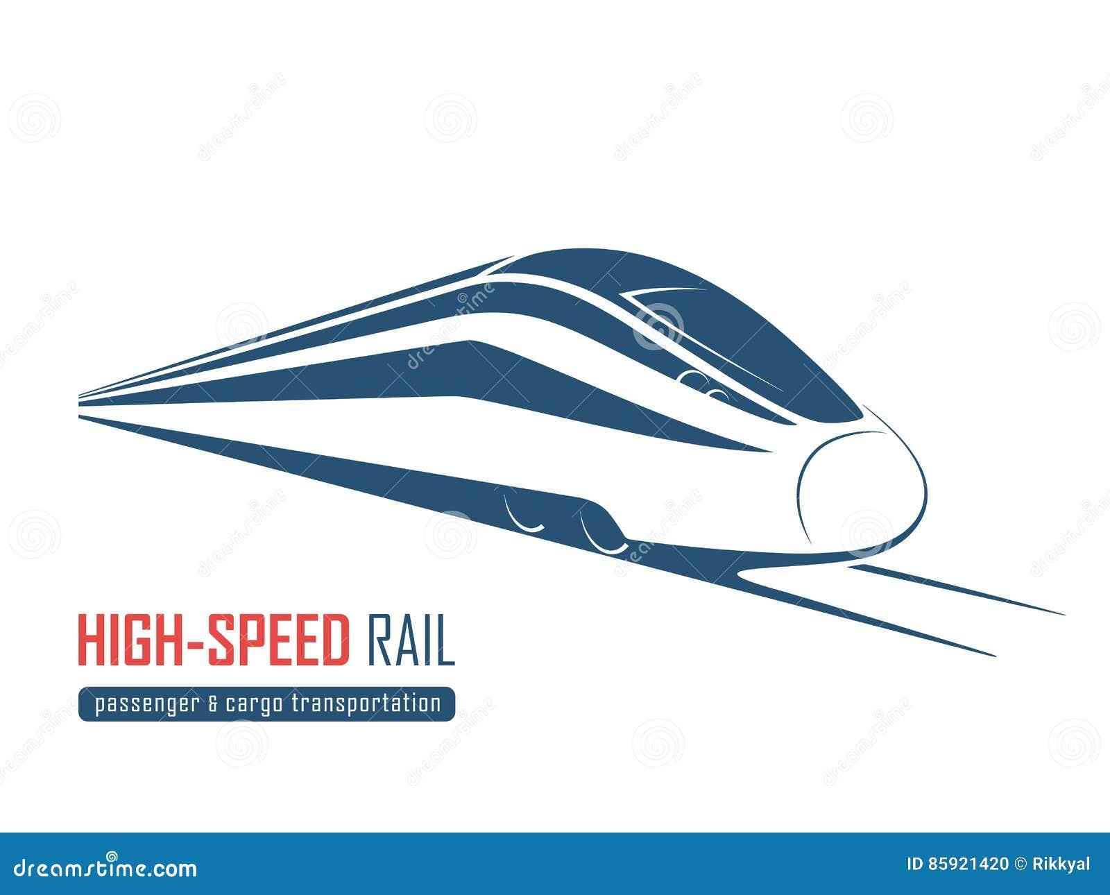 Emblème moderne de rail à grande vitesse, icône, label, silhouette