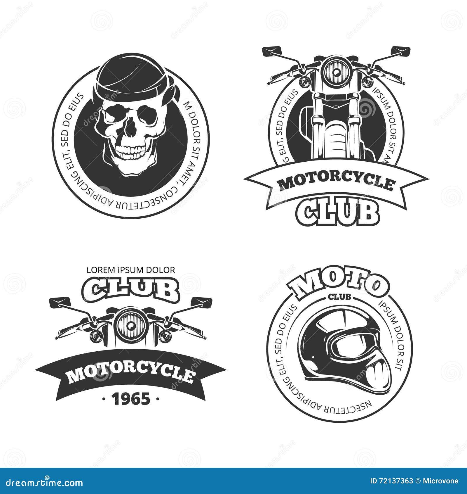 Emblèmes de club de moto ou de motocyclette de vecteur de vintage