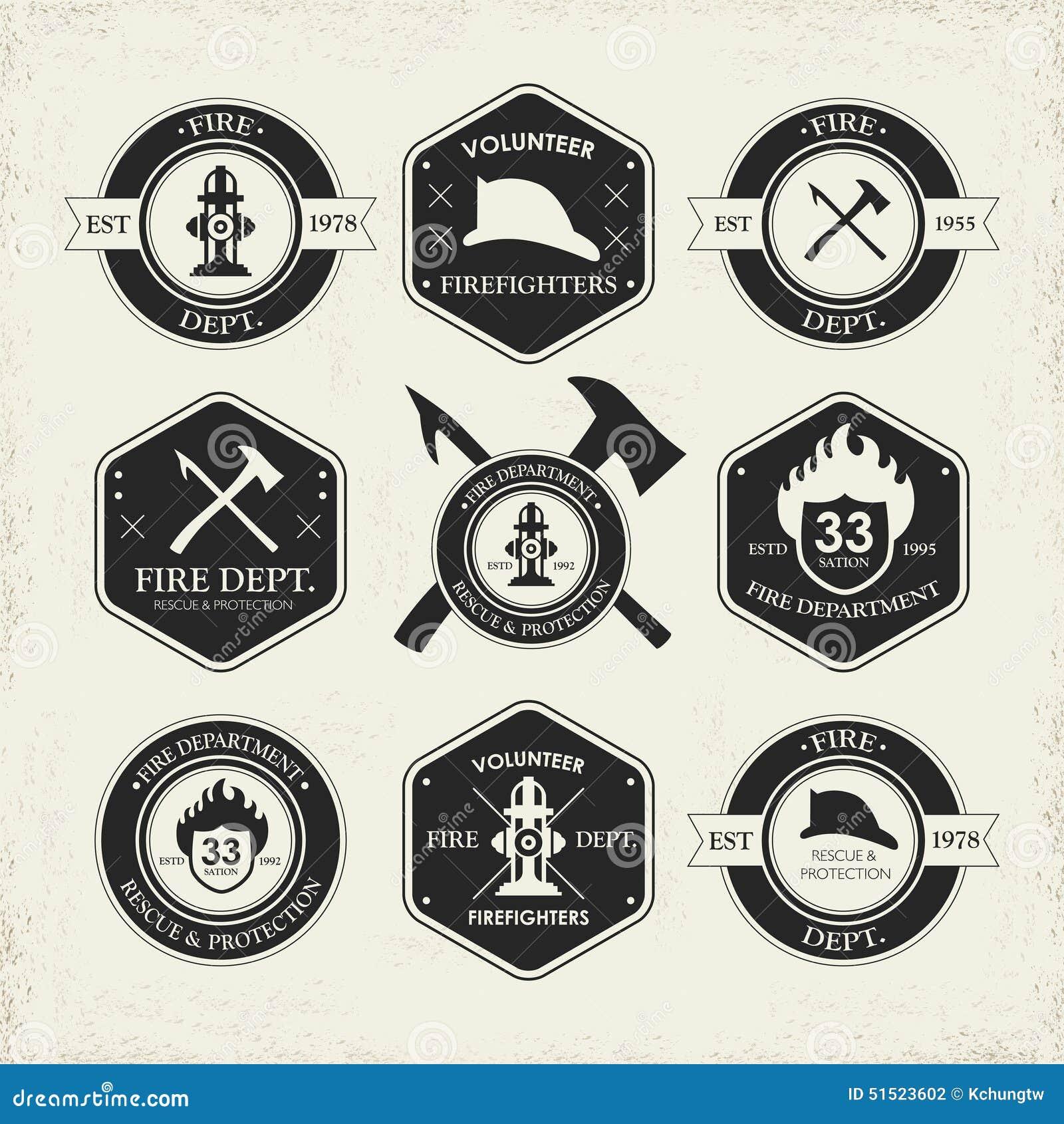 Emblèmes divers de corps de sapeurs-pompiers réglés