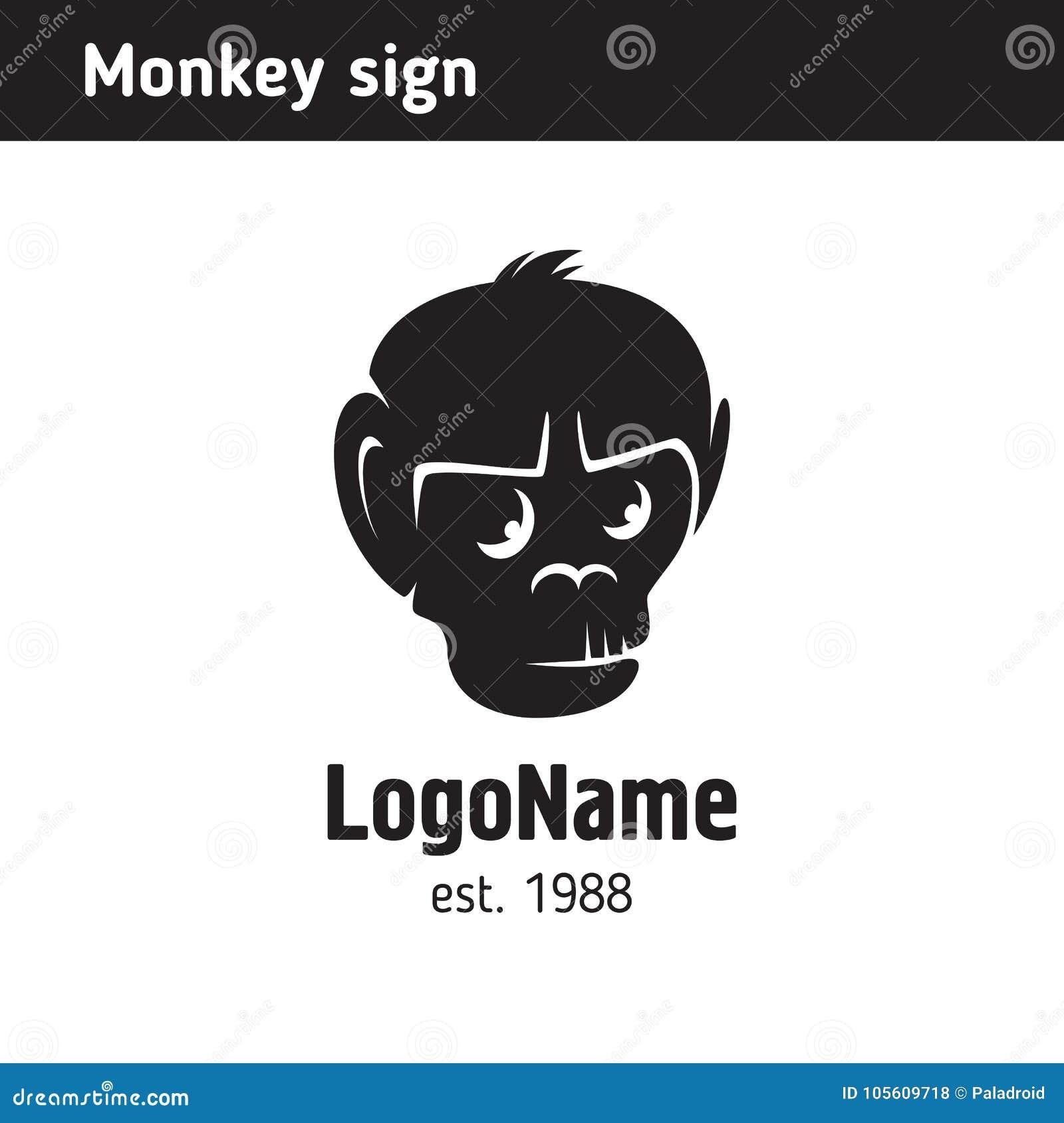 Embleem in het zwart-wit hoofd van een aap, silhouet
