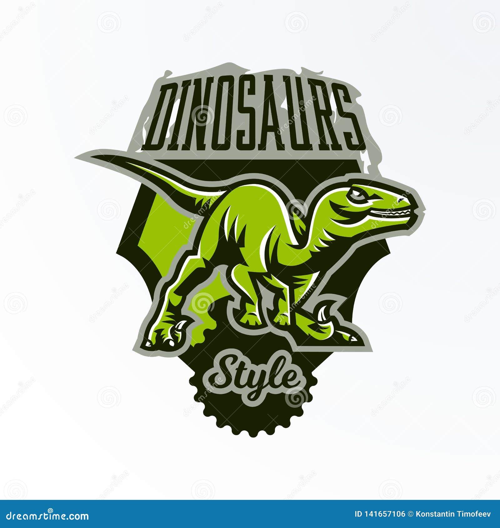 Embleem, kenteken, sticker, dinosaurusembleem op de jacht Roofdier Jura, een gevaarlijk dier, een uitgestorven dier, een mascotte