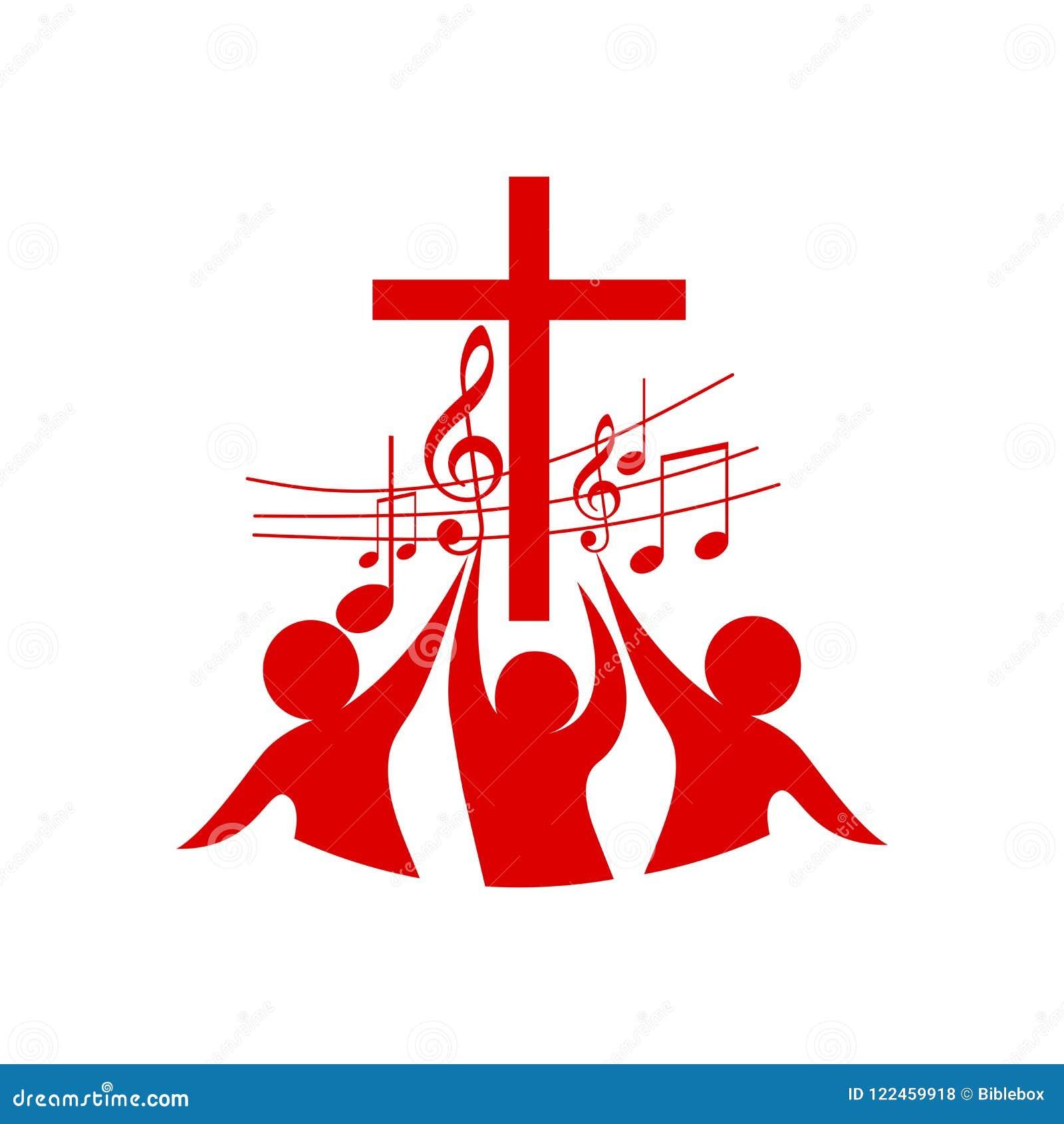 Embleem van de kerk en het ministerie De gelovigen in Lord Jesus Christ aanbidden Lord en aan zingen hem glorie en lof