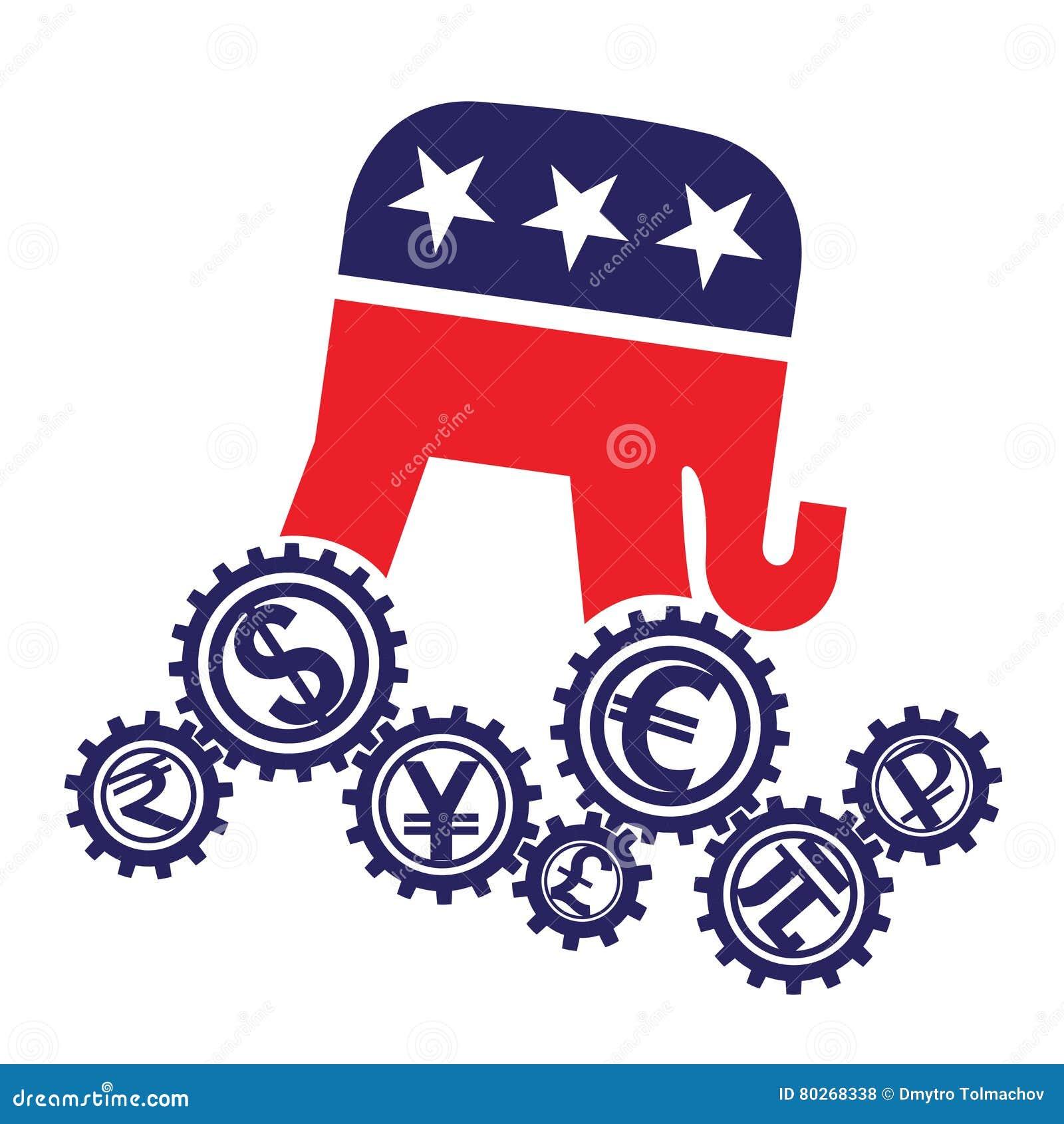 Embleem van de Republikeinse Partij van de munten van de V.S. en van de wereld