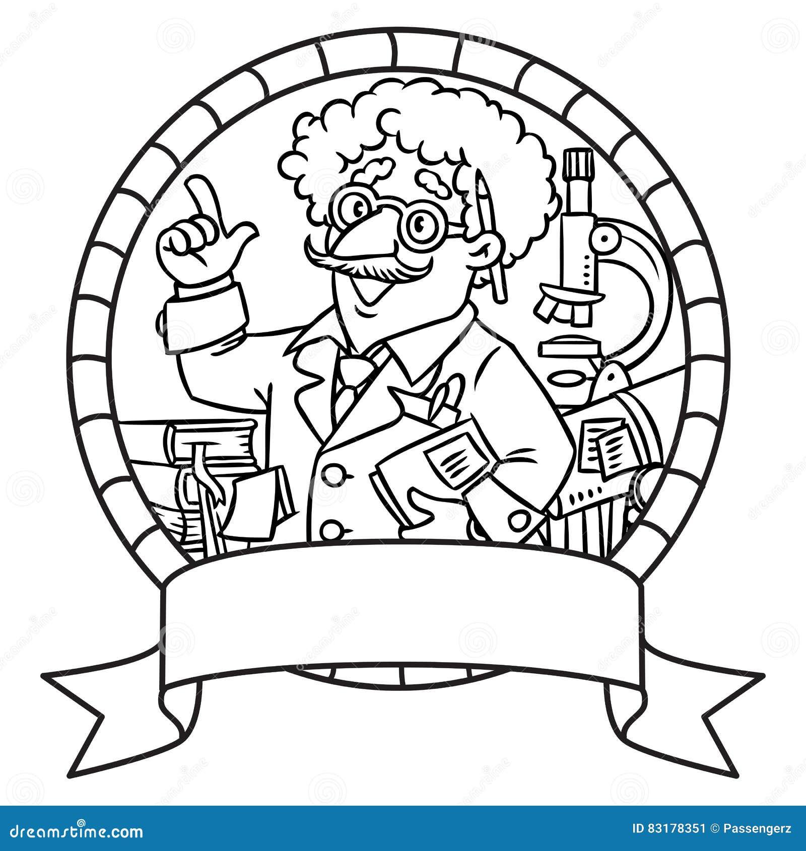 Embleem van grappige wetenschapper of uitvinder