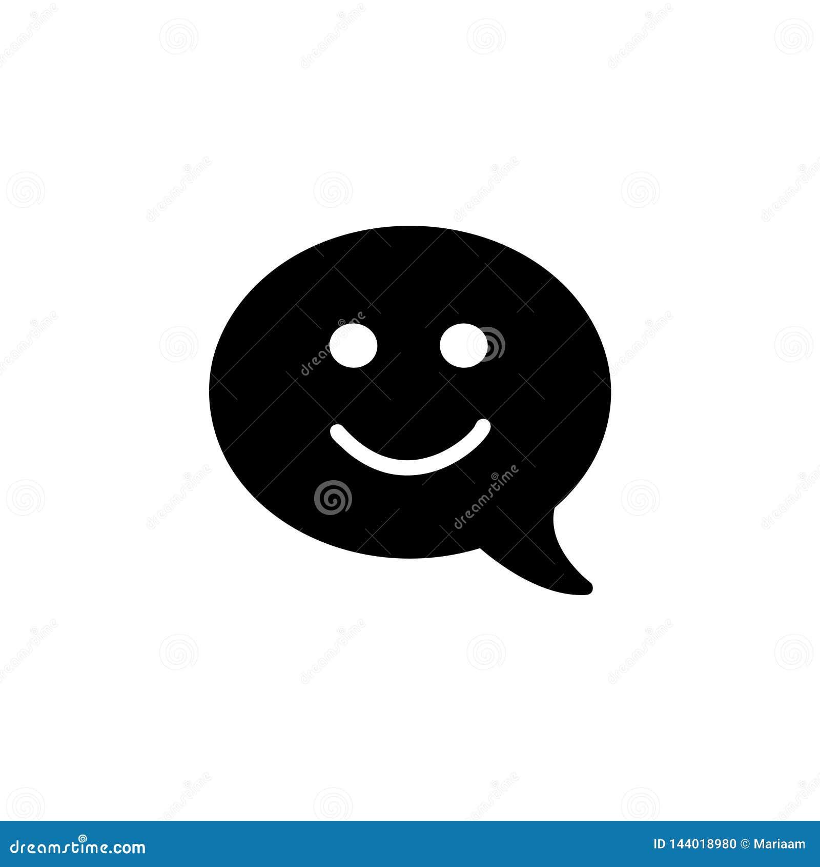 Embleem van het advies het vlakke ontwerp met toespraakbel en smiley