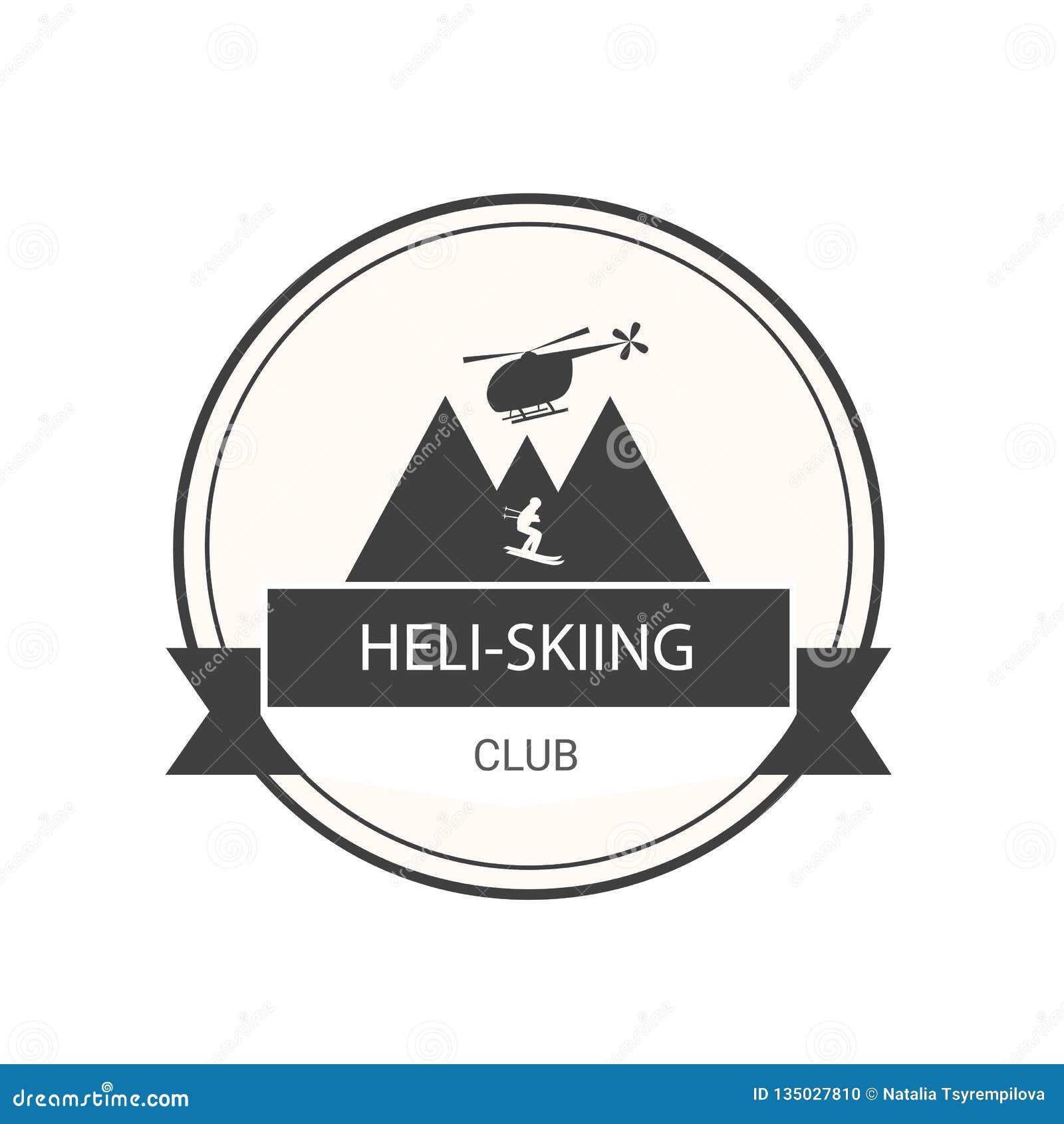 Embleem voor heli-Ski?ende club met helikopter, bergen en skiër