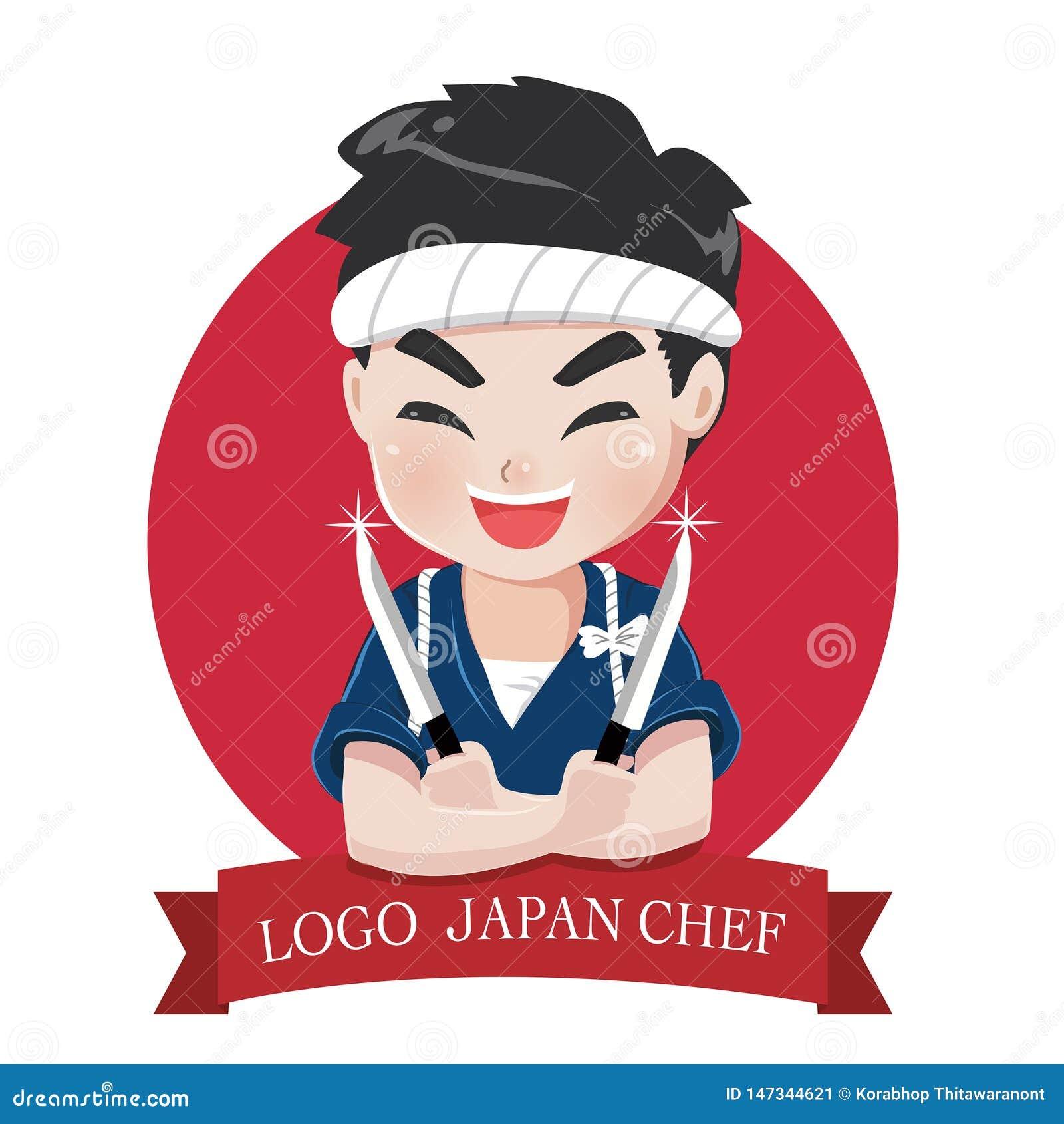Embleemchef-kok Japan met mes en glimlach