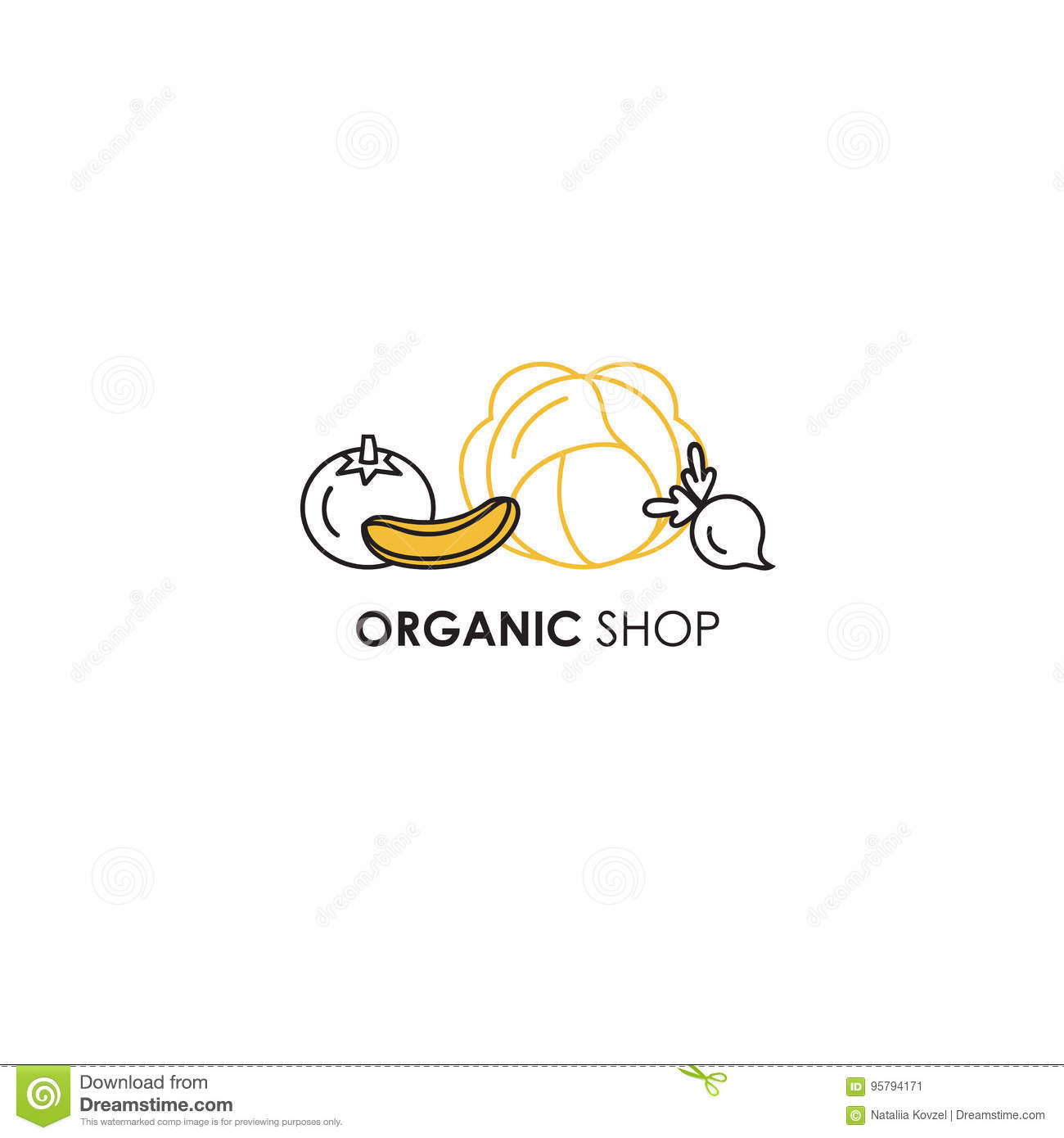 Emblem Design Template In Line Icon Style For Organic Products