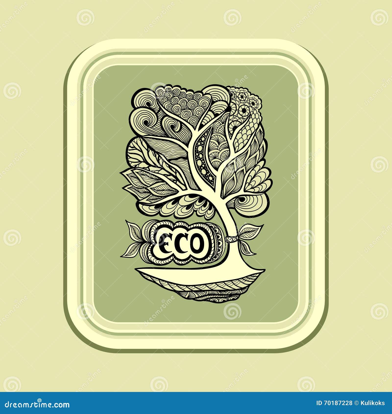 Emblem eller symbol med dettova trädet i grön oliv