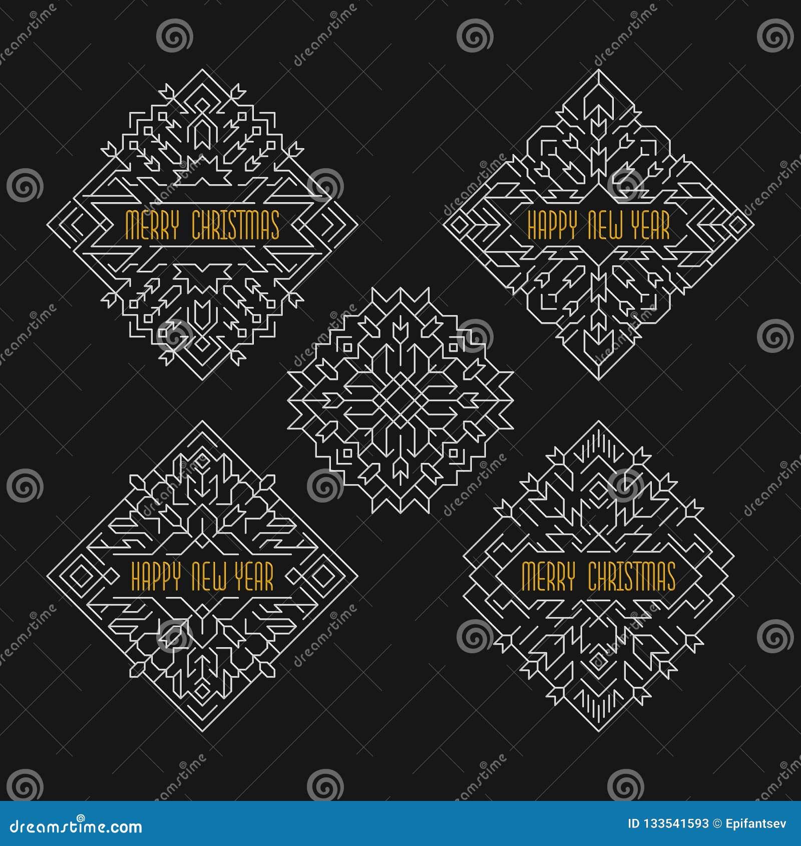 Emblem för glad jul och för lyckligt nytt år Ramar i linjen stil Semestrar baner