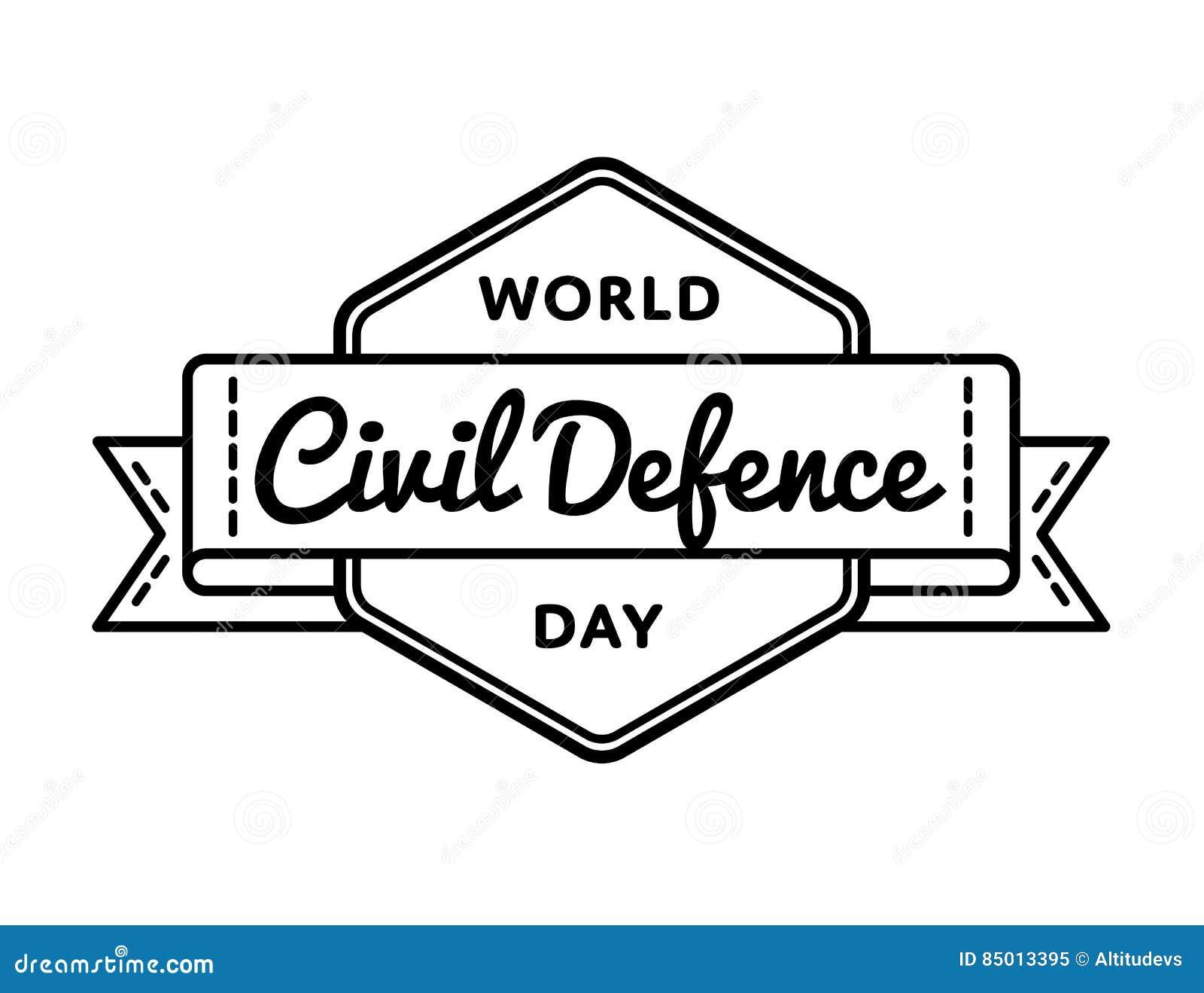 Emblem för hälsning för dag för borgerligt försvar för värld