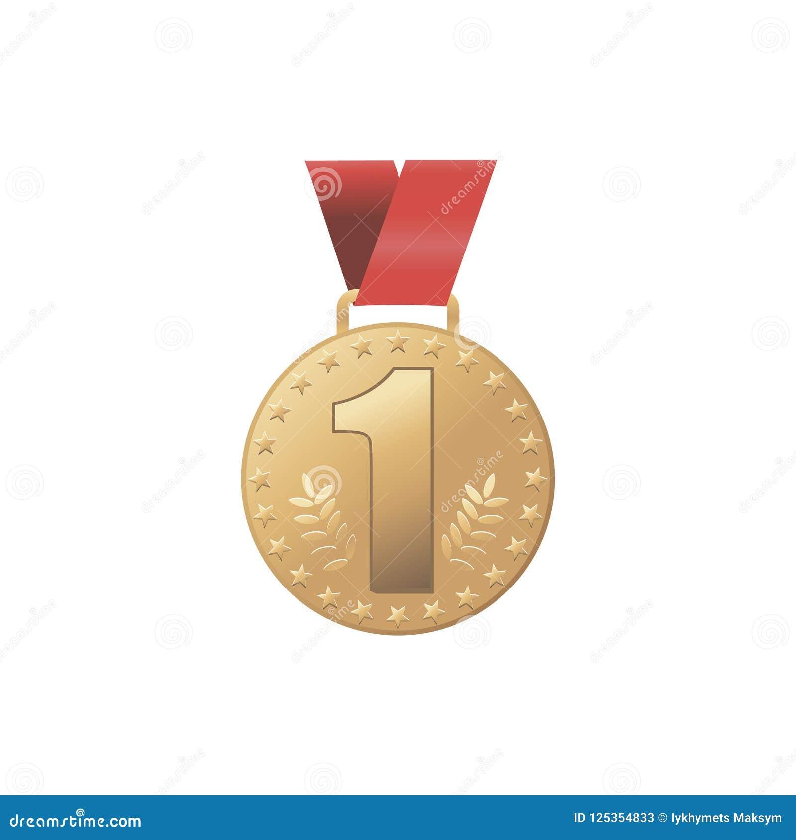 Emblem för ställe för modern guldmedalj för vektor guld- 1st Modig guld- utmaningutmärkelse för sport rött band isolerat Oliv för