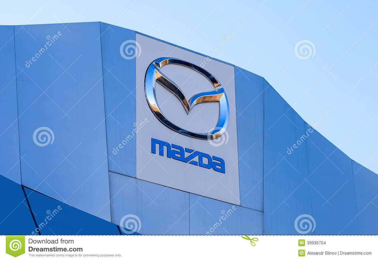 The Emblem Mazda On Blue Sky Background Editorial Stock Image