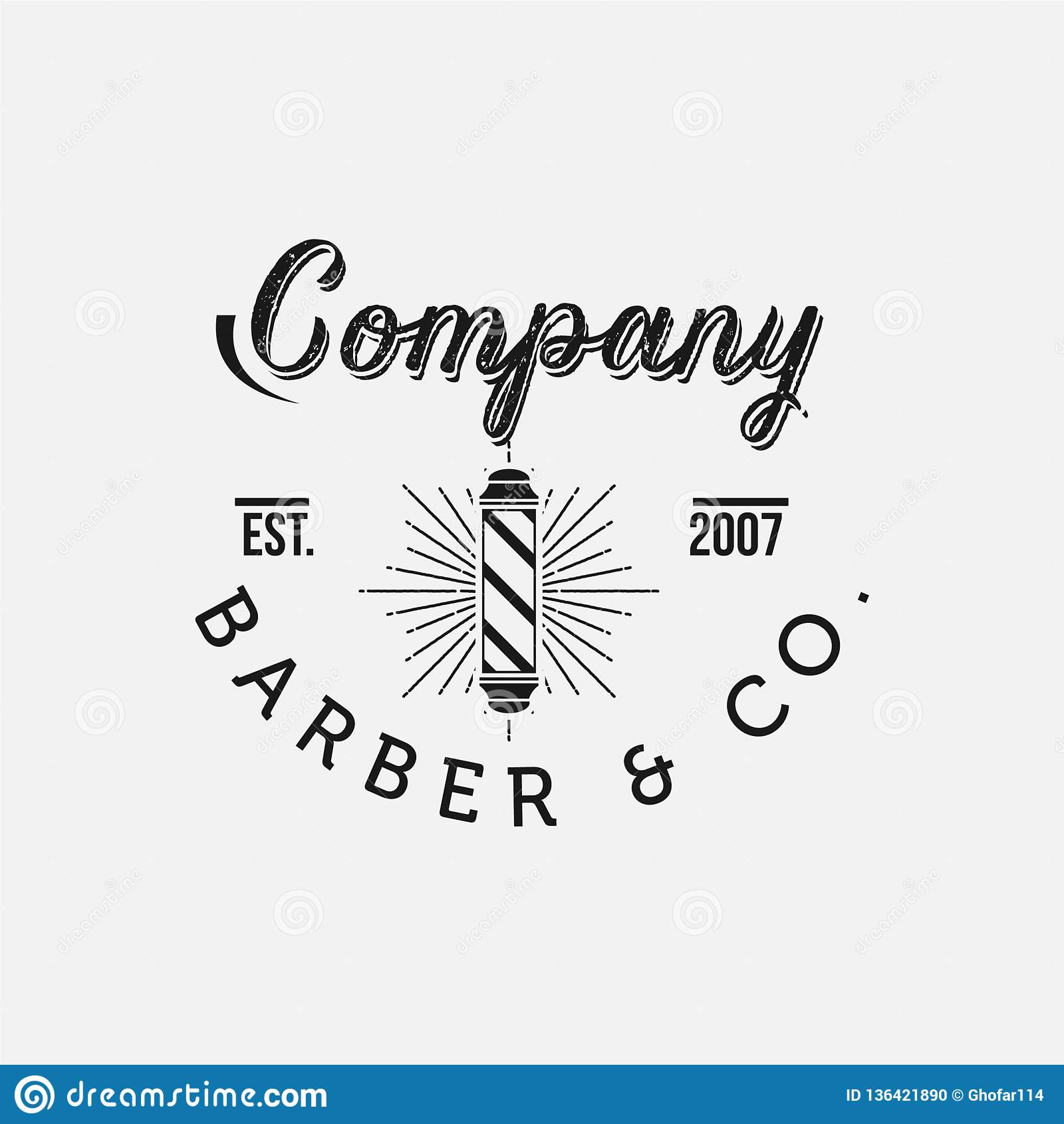 Emblem och etiketter för tappningfrisersalongvektor Barberareemblem och logoer
