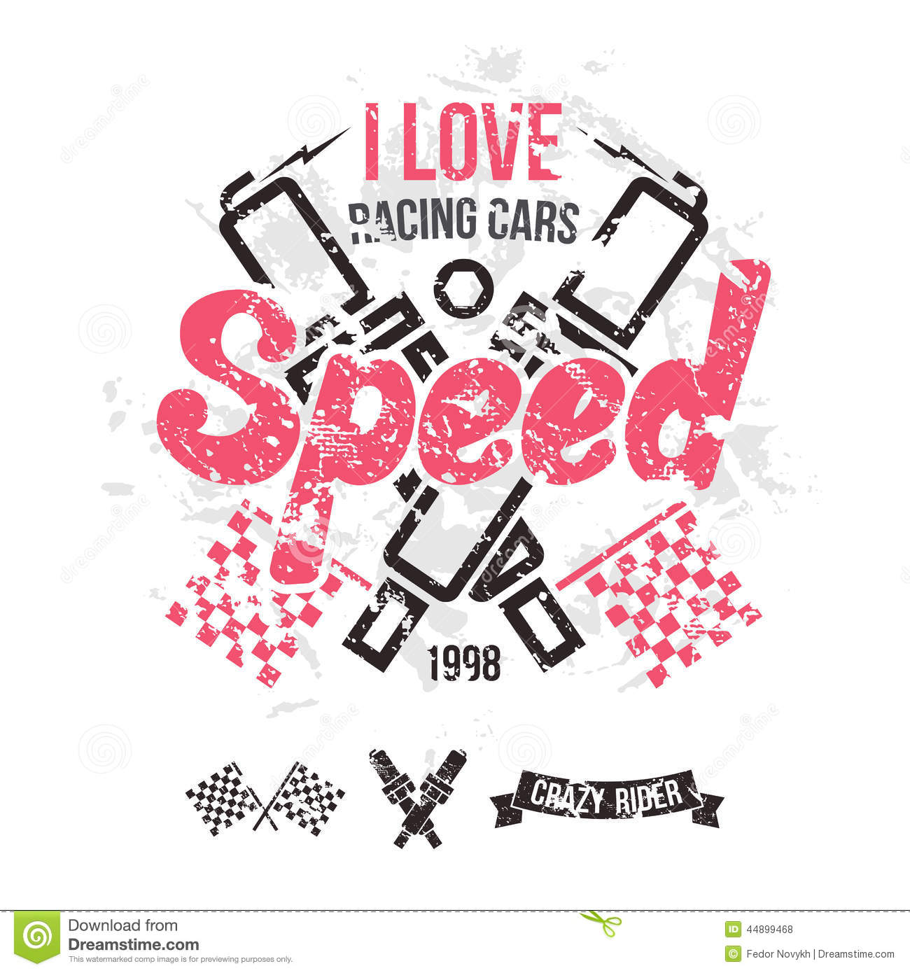 Emblem of the racing car in retro style stock vector for Shutterstock t shirt design