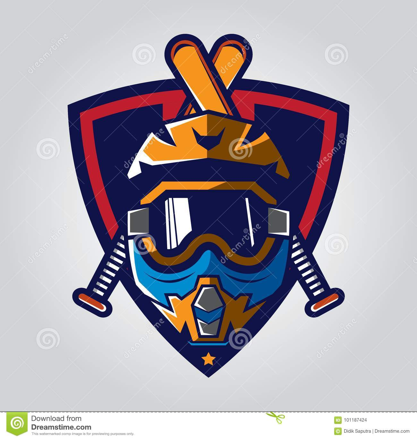 Motocross Helmet Badge Stock Vector Illustration Of Emblem