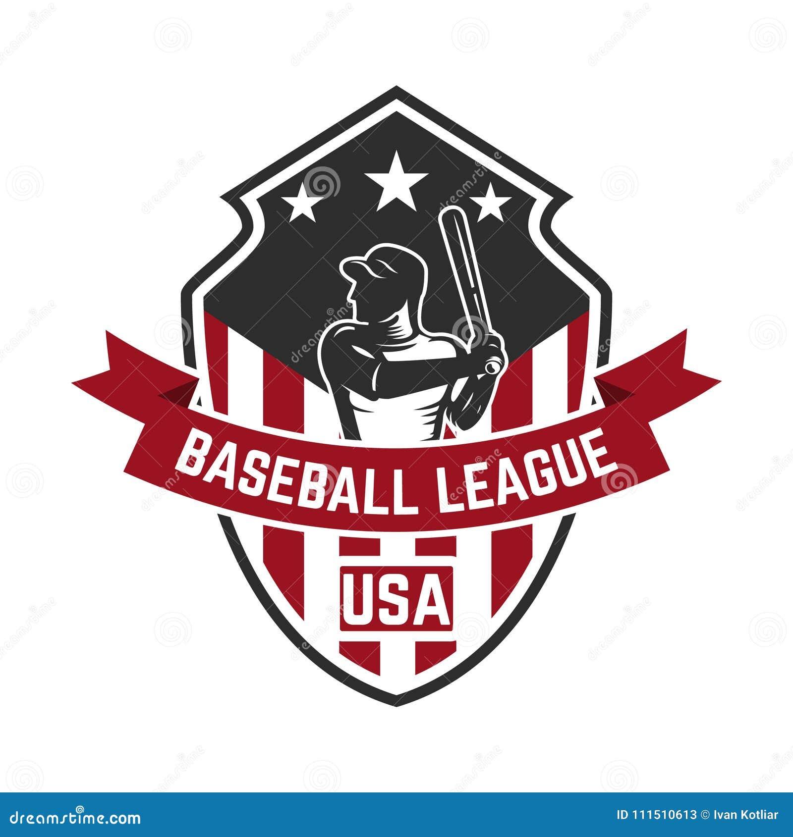 Emblem Template With Baseball Player Design Element For Logo Label Sign