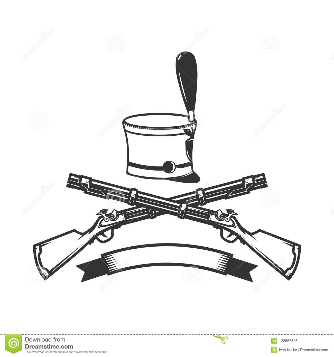 Emblem Template With Crossed Rifles And Hussar Hat Design Element For Logo Label