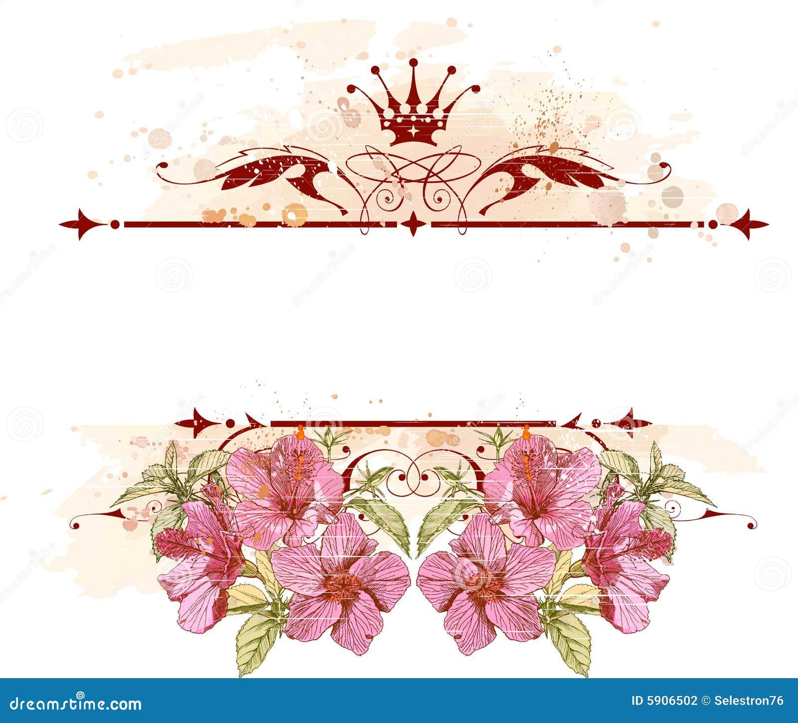 Emblema & flores do vintage