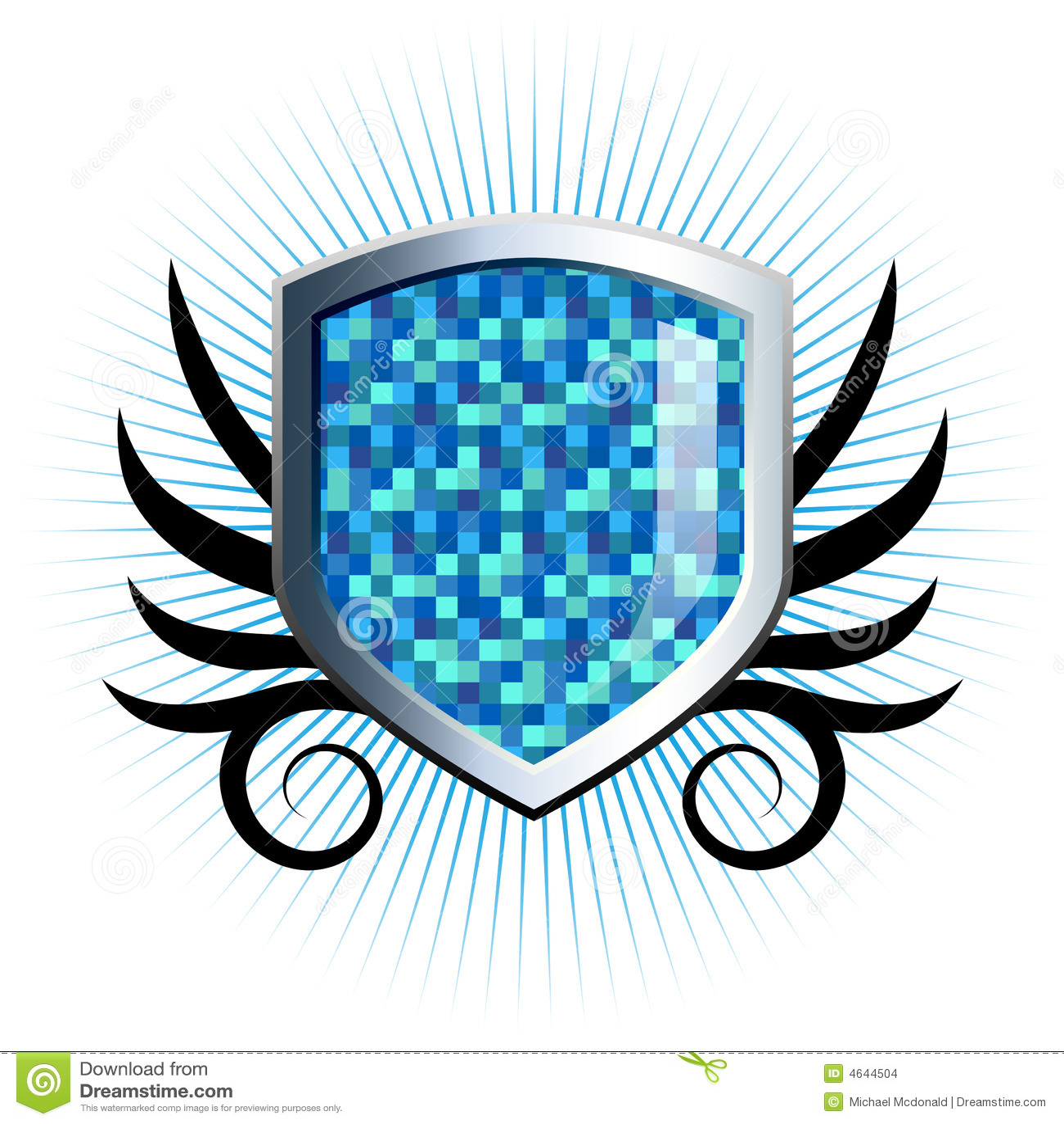 Emblema checkered azul lustroso do protetor