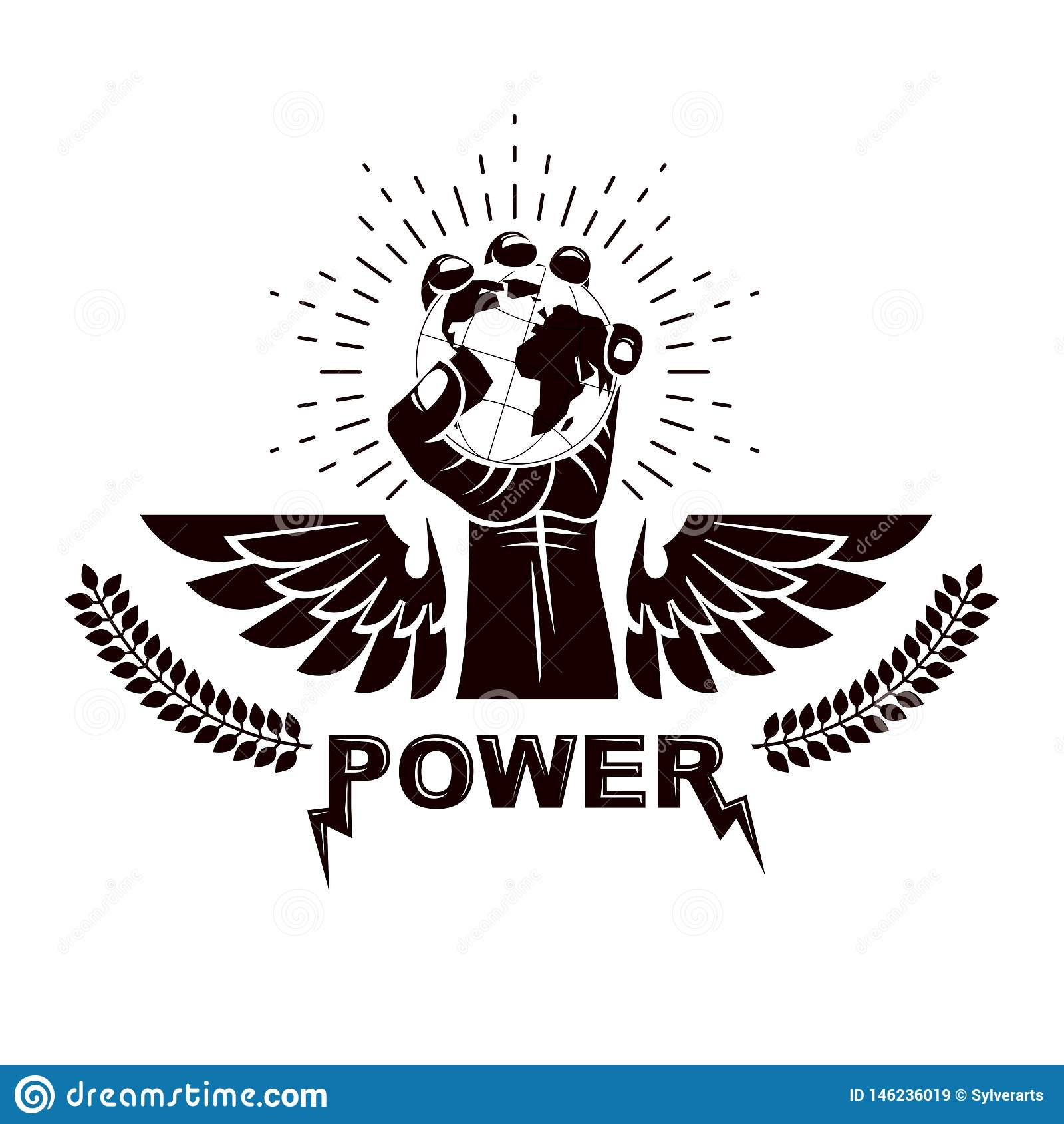 Emblema con alas del vector compuesto con el pu?o apretado aumentado compuesto con el ejemplo de la tierra Autoridad como los med