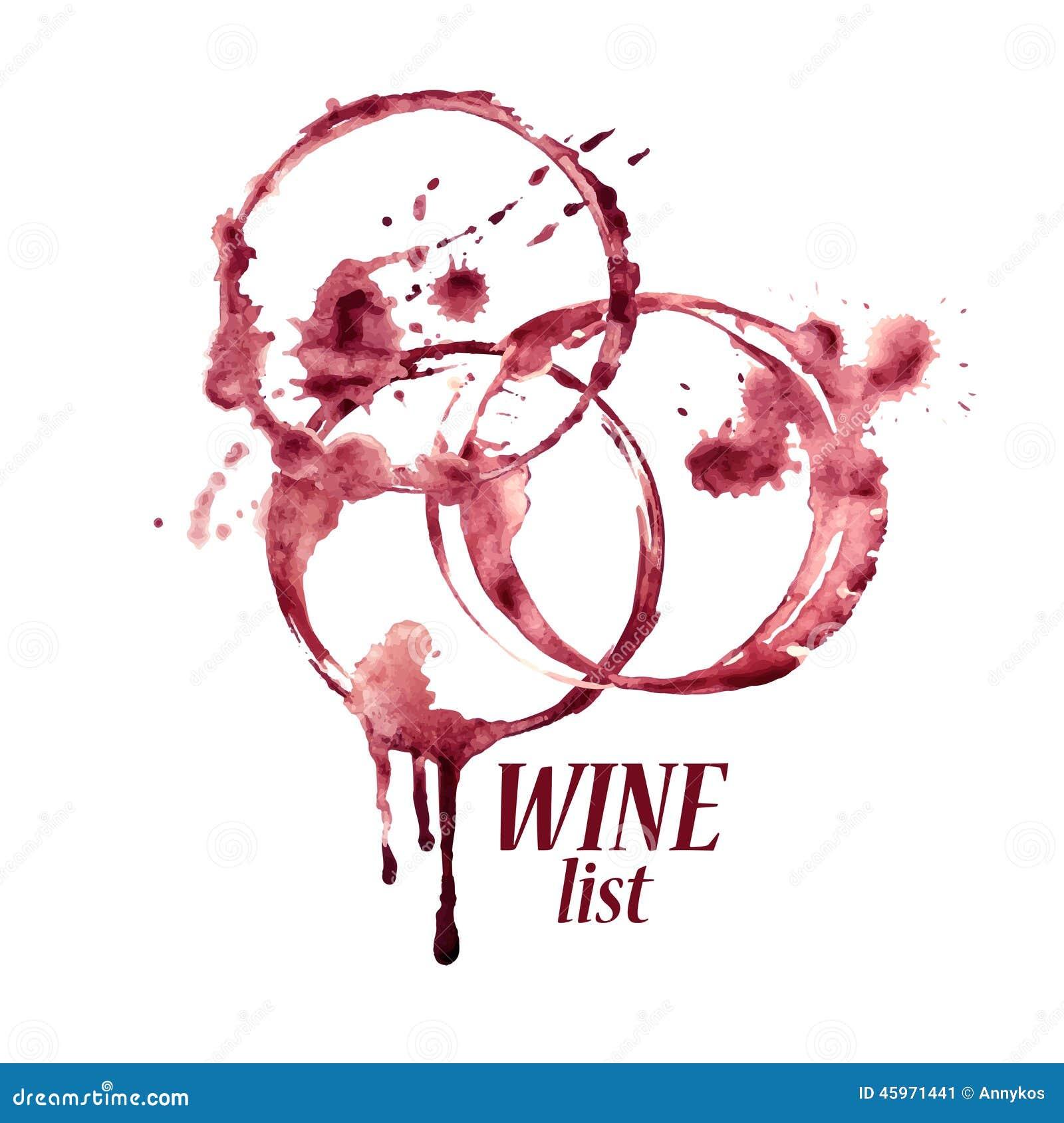 Emblema de la acuarela con las manchas del vino - Manchas de vino ...