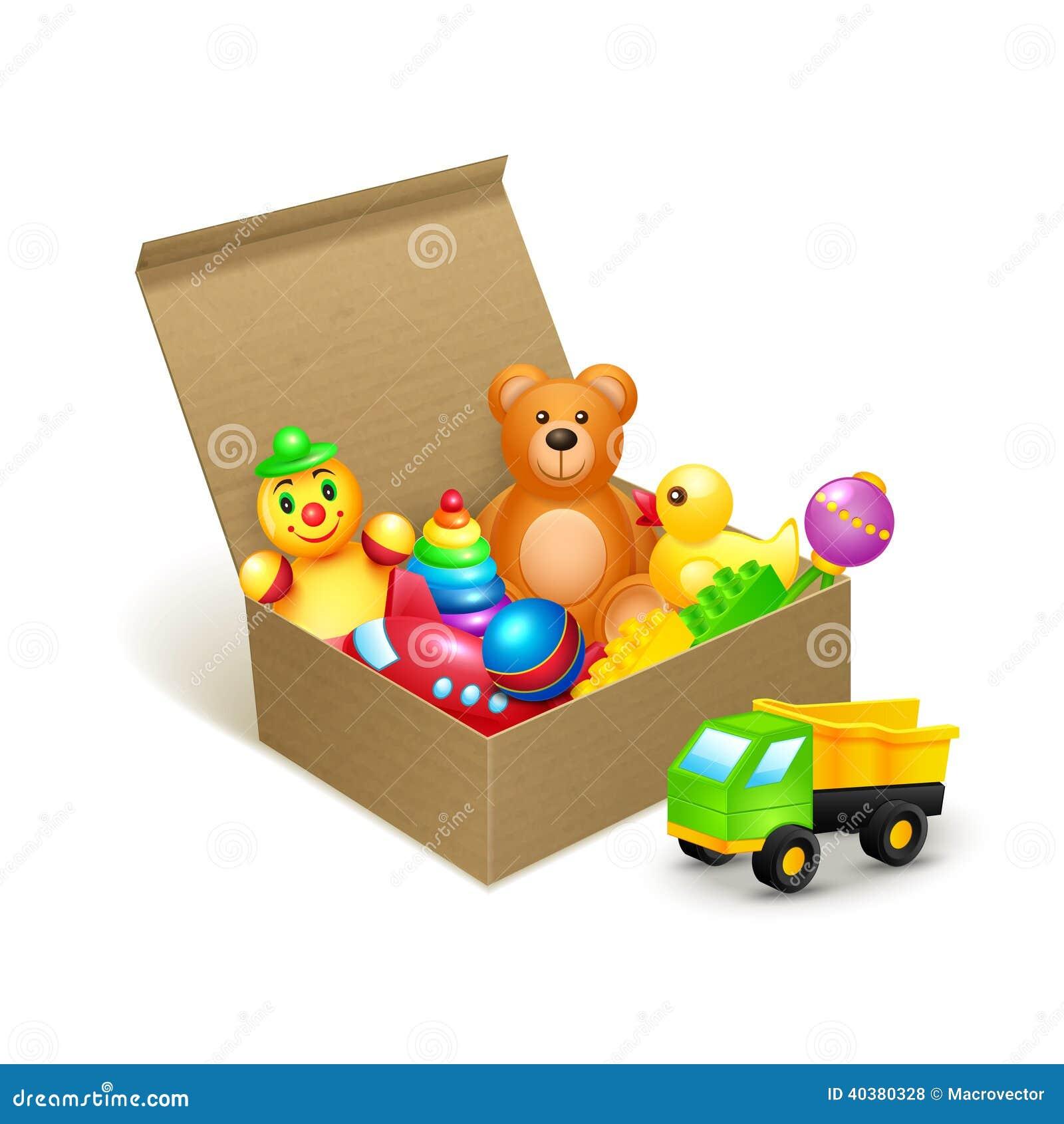 Emblema de la caja de juguetes ilustraci n del vector - Cajas para almacenar juguetes ...