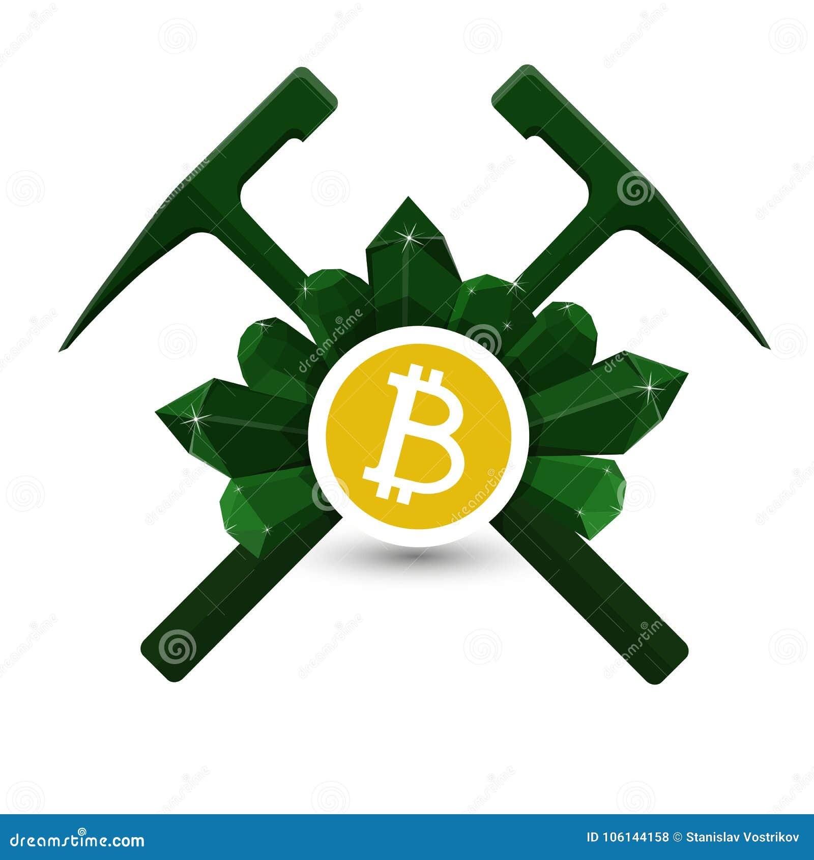 Emblema de la extracción de Bitcoin, icono con los martillos geológicos y vector de los cristales