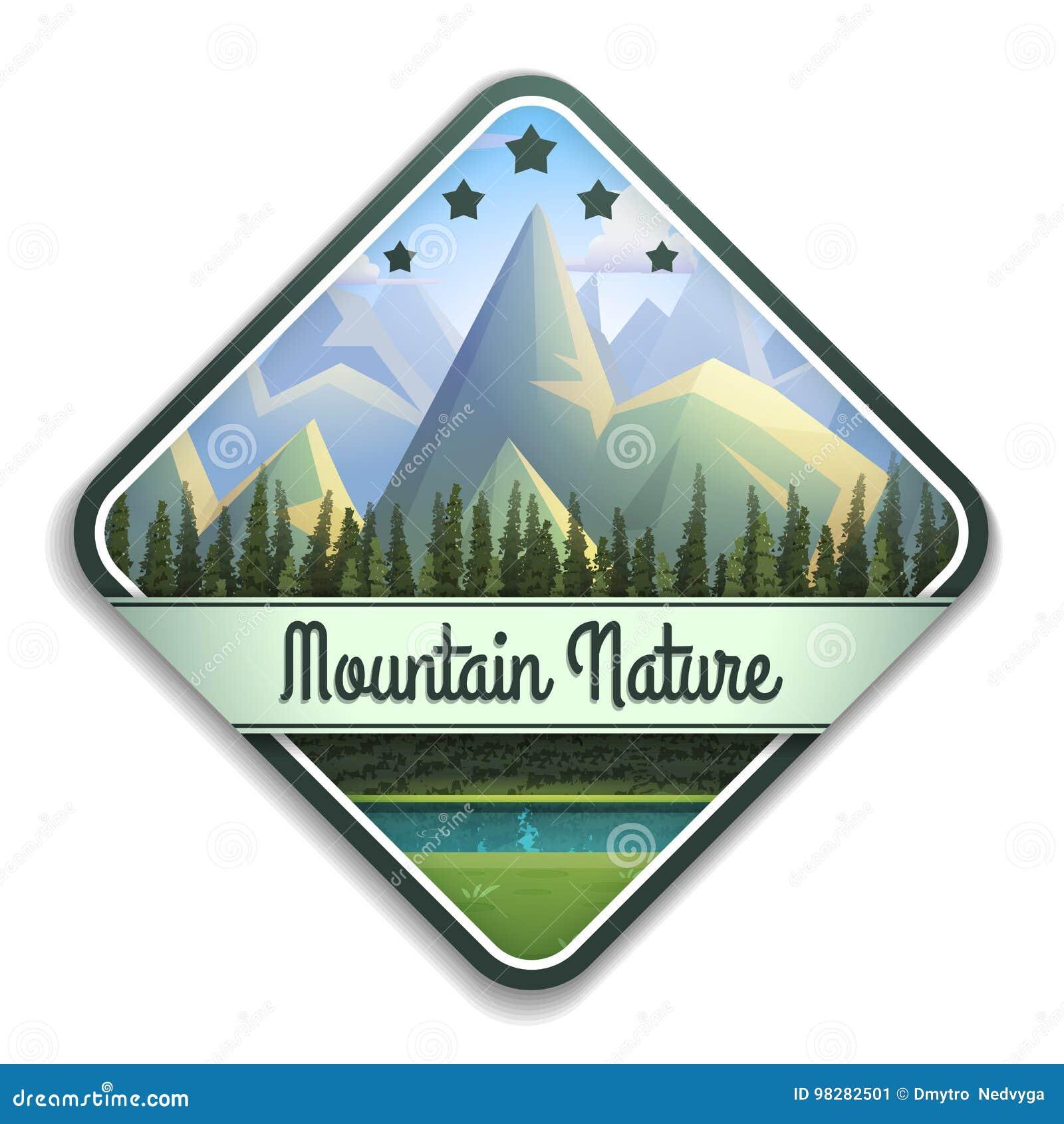 Emblema de la naturaleza del paisaje de la montaña con el río y el bosque conífero aislados en el fondo blanco