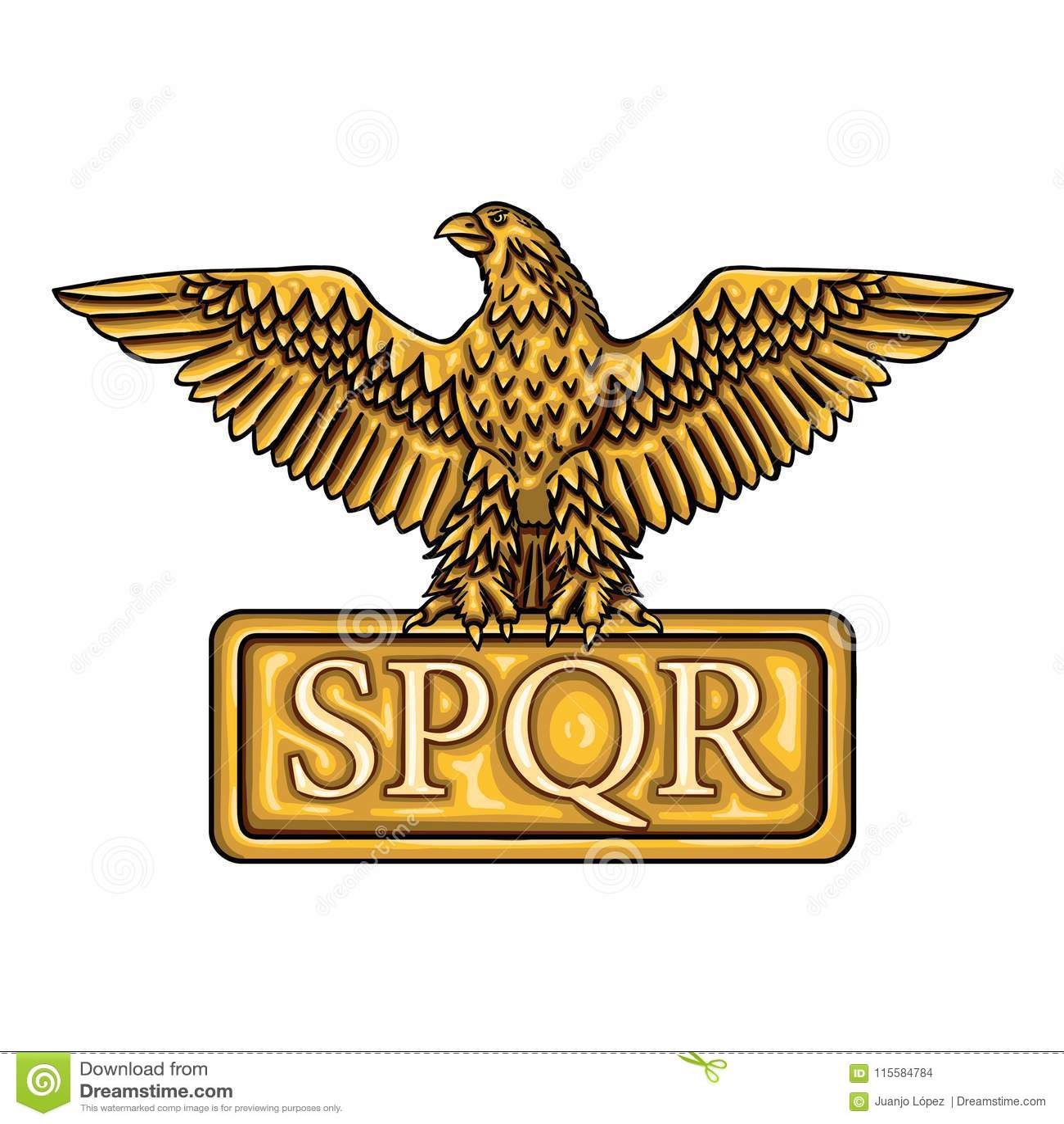Emblema de oro de Roman Empire SPQR con el águila