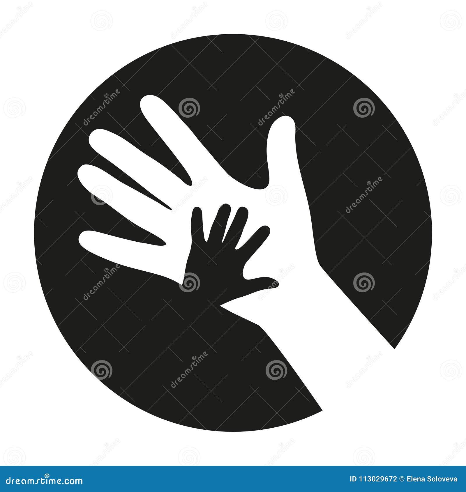 Emblema de una mano del ` s del niño en un fondo blanco