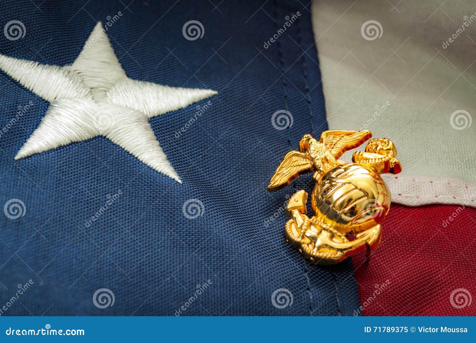 Emblema del Cuerpo del Marines de los E.E.U.U. y la bandera americana