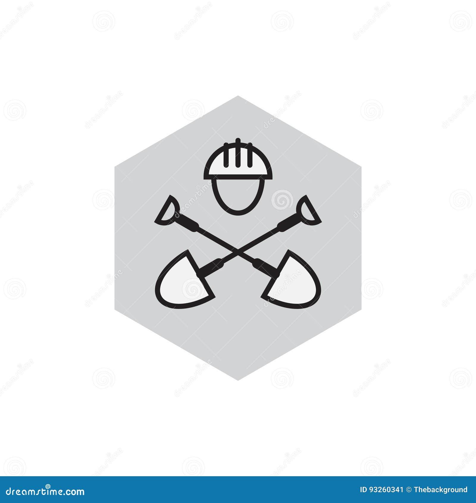 Emblema del genio civil Icono picador Etiqueta con las palas y la ha