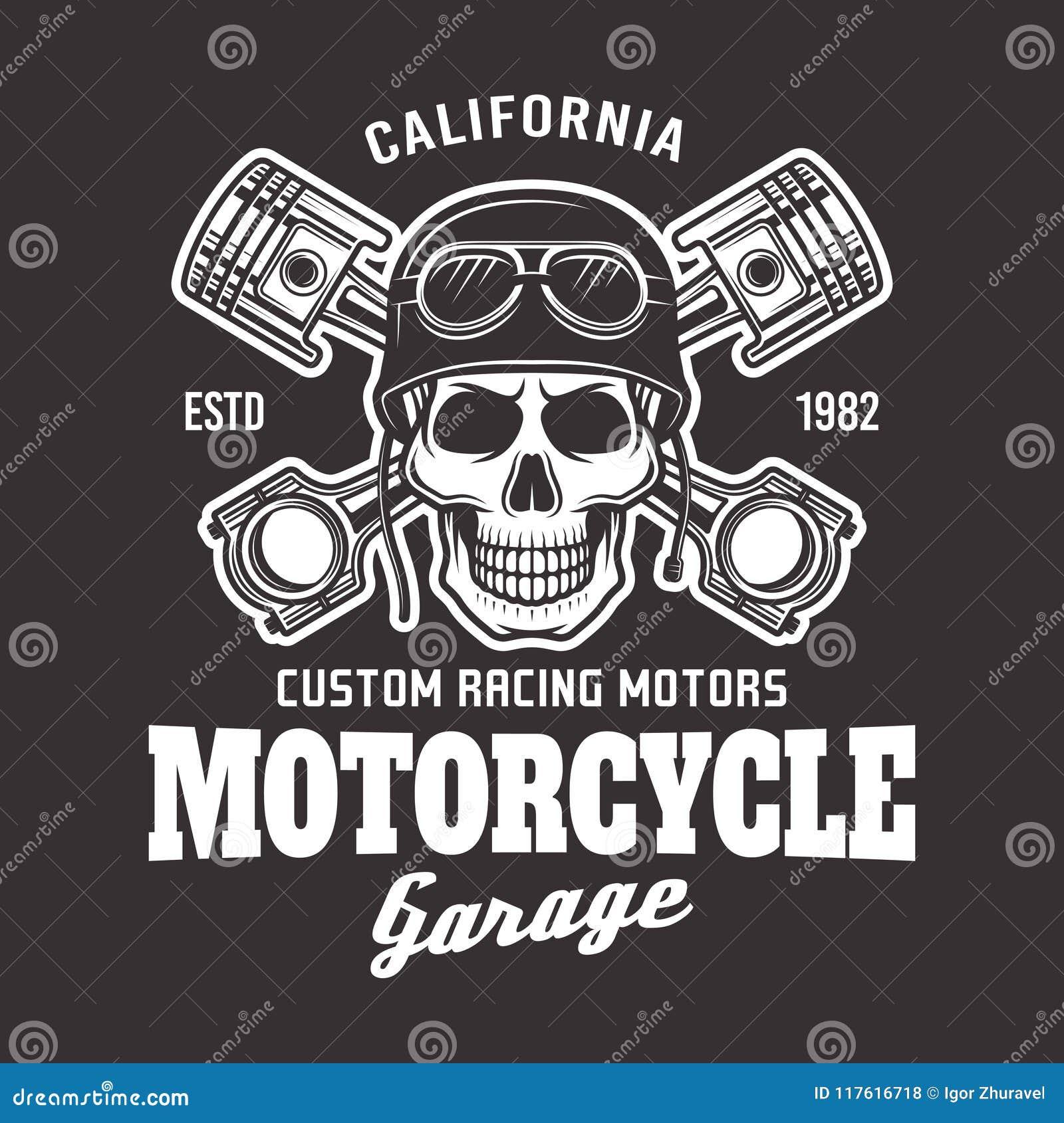 Emblema del motorista del vector de la motocicleta con el cráneo en oscuridad