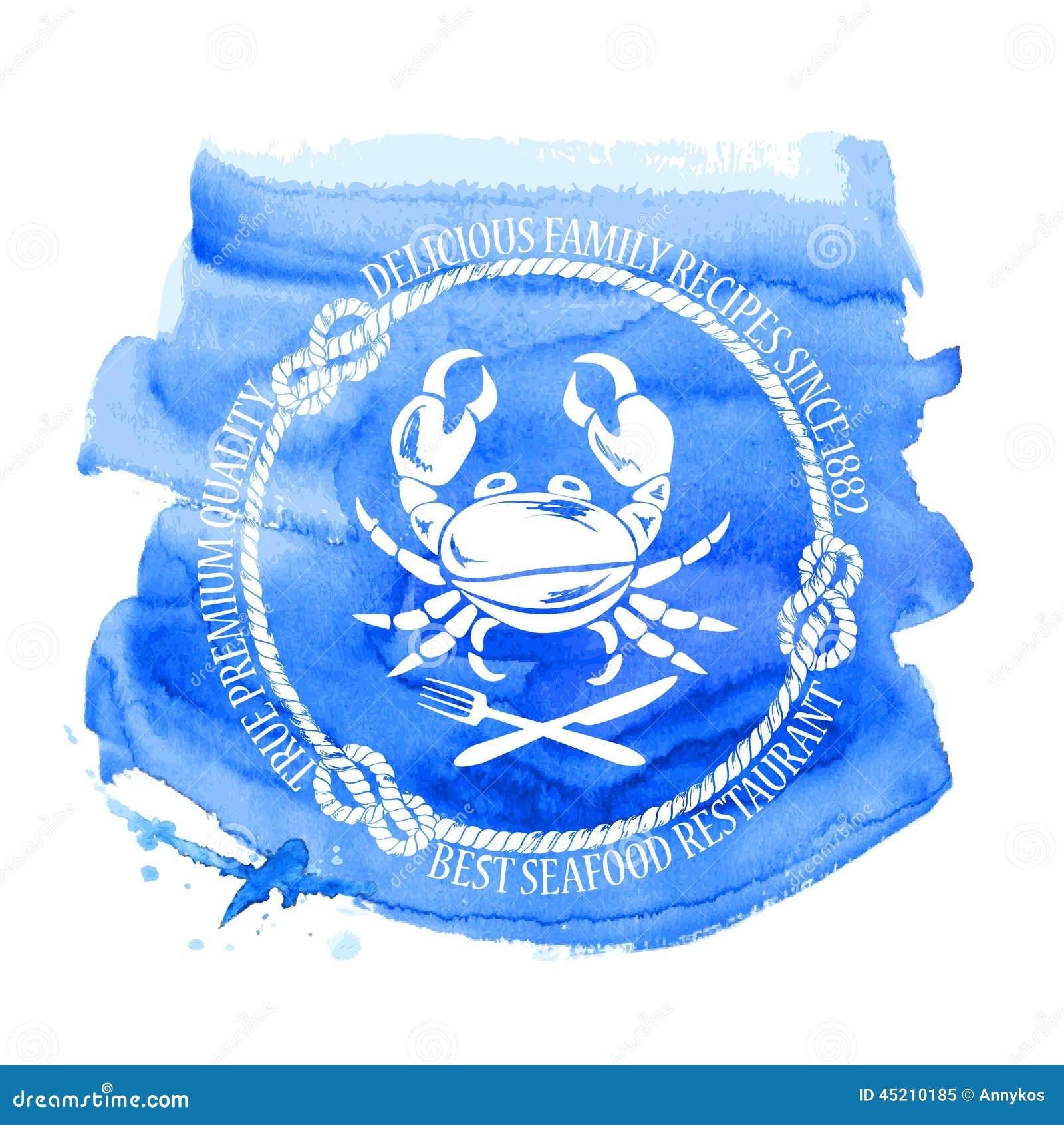 Emblema del restaurante de los mariscos con el cangrejo