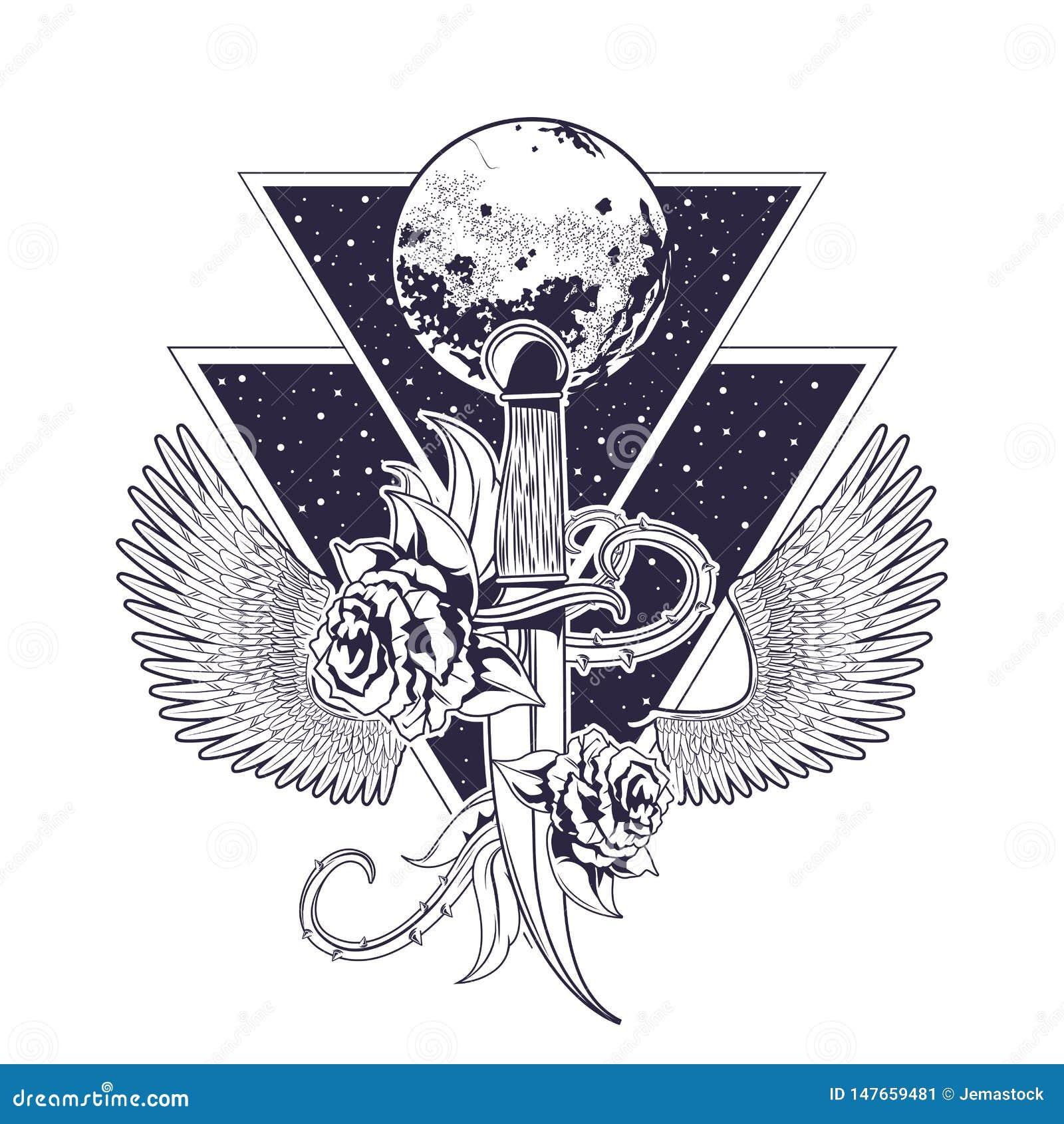 Emblema Del Vintage Del Rock And Roll Con Los Dibujos