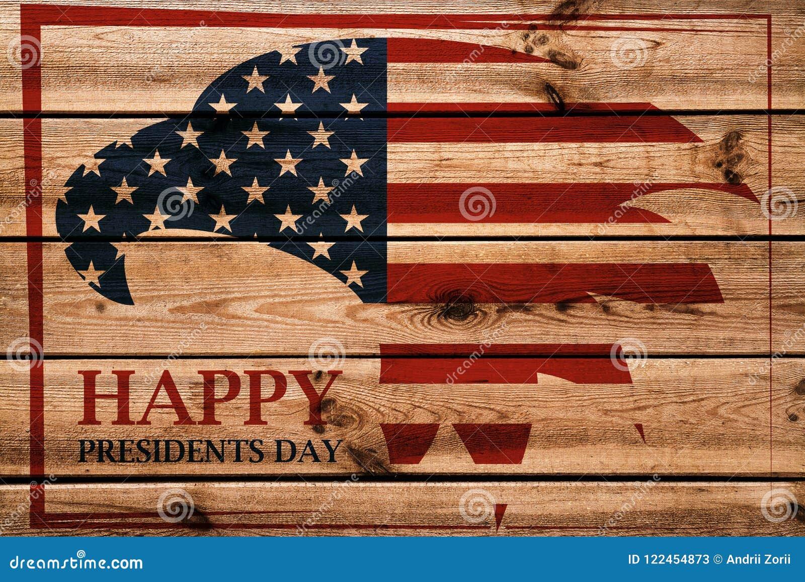 Emblema di presidenti Day con l aquila americana nel telaio rosso Priorità bassa di legno