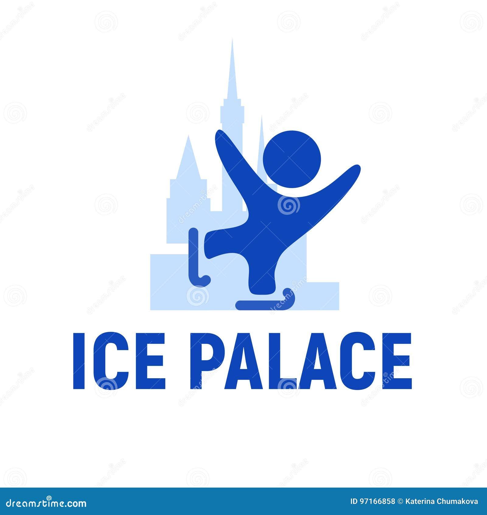 Emblema do logotipo do palácio do gelo Patinagem artística