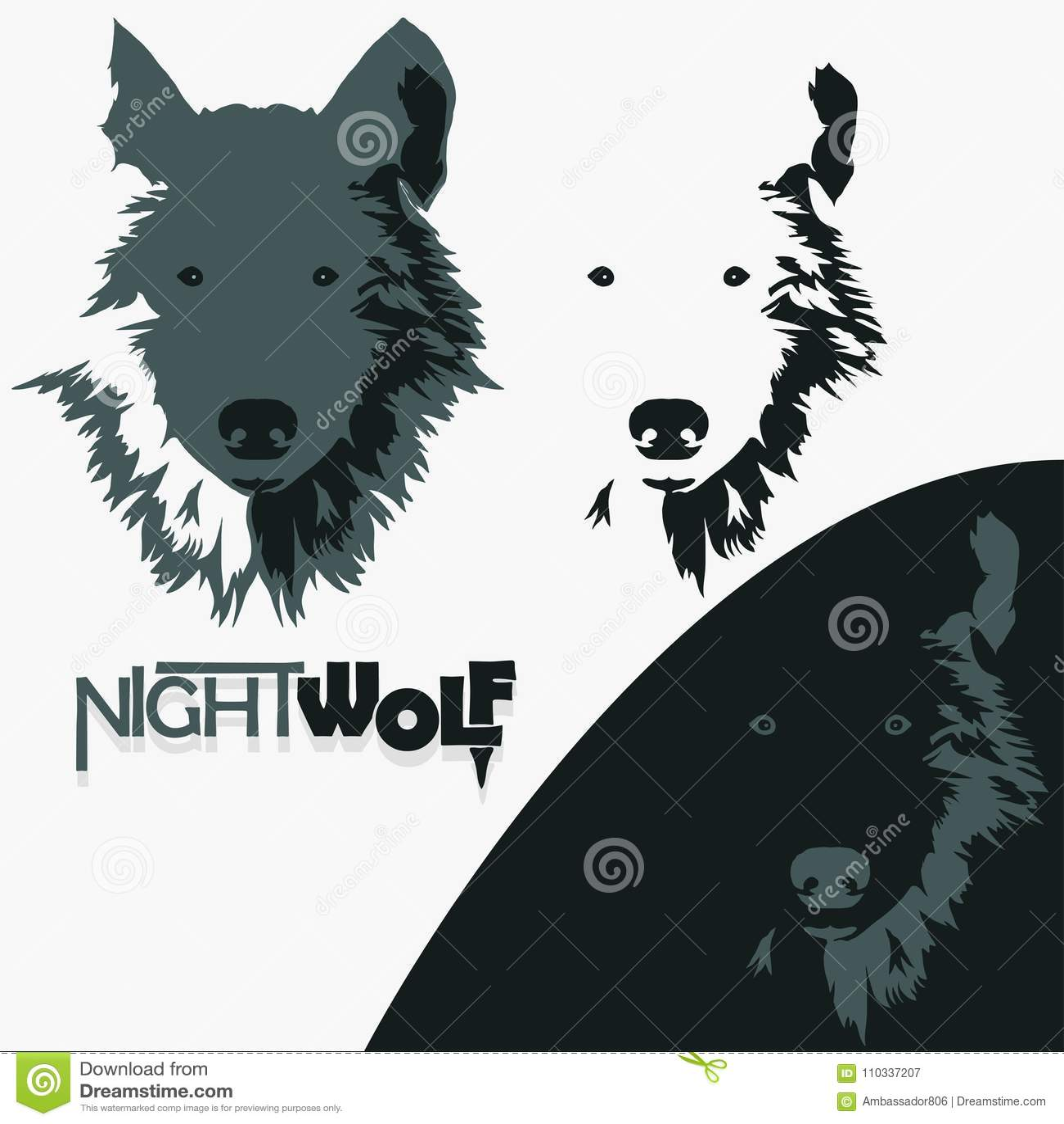 emblema do parafuso do lobo silhueta principal da mascote vetor