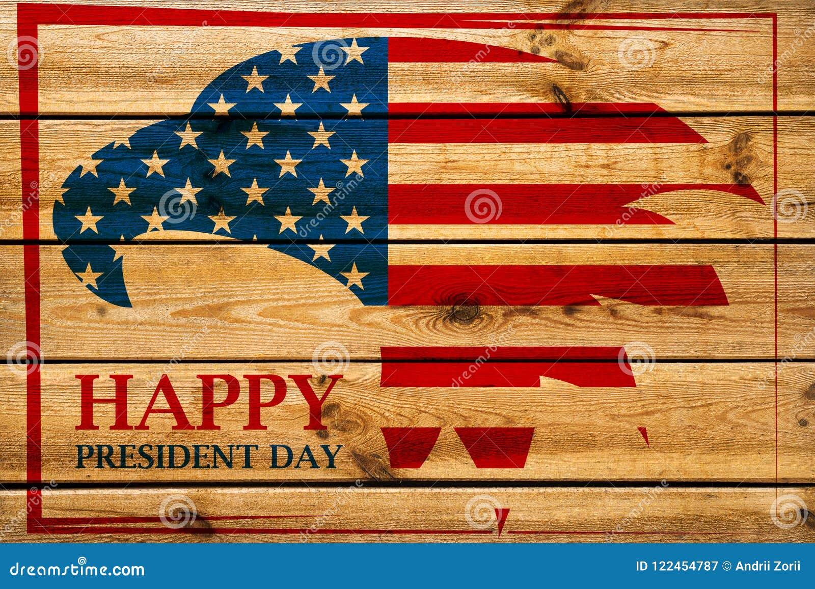 Emblema dos presidentes Dia com a águia americana no quadro vermelho Fundo de madeira