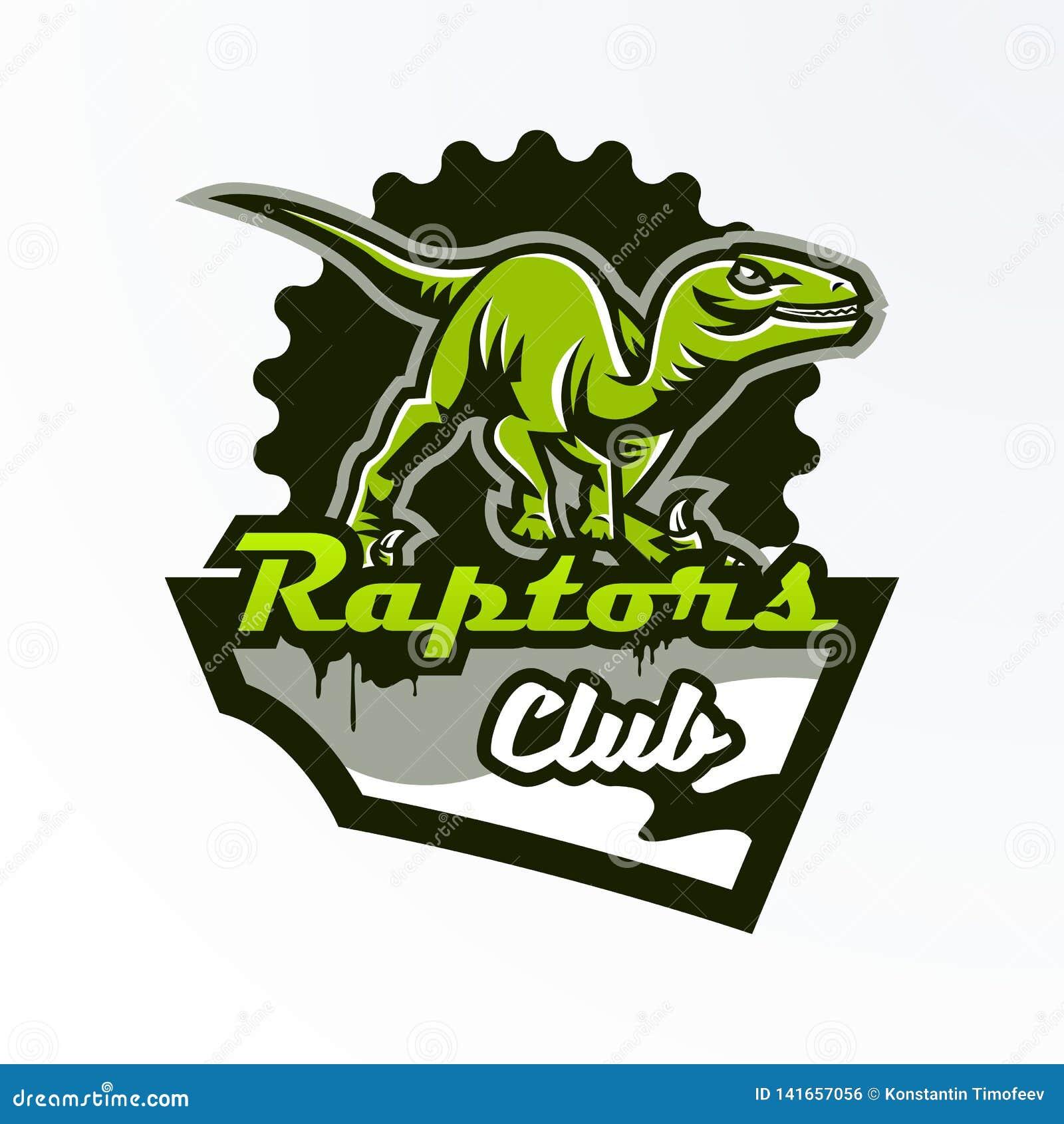 Emblema, insignia, etiqueta engomada, logotipo del dinosaurio en la caza Depredador jurásico, una bestia peligrosa, un animal ext
