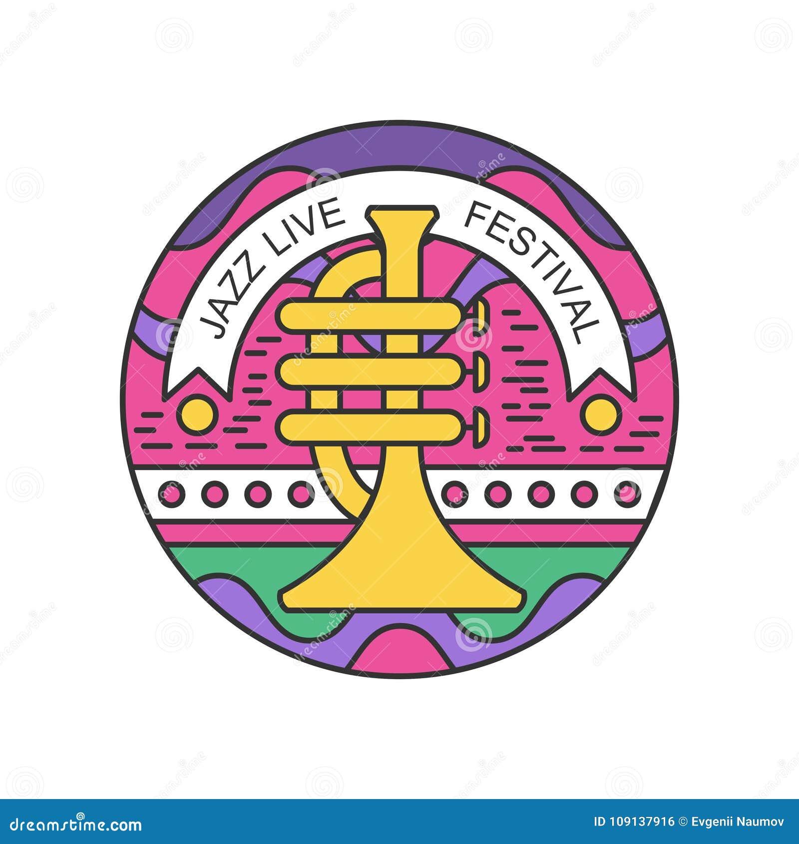 Emblema linear colorido com trombeta Logotipo abstrato para o concerto vivo do jazz Projeto original do vetor para o festival de
